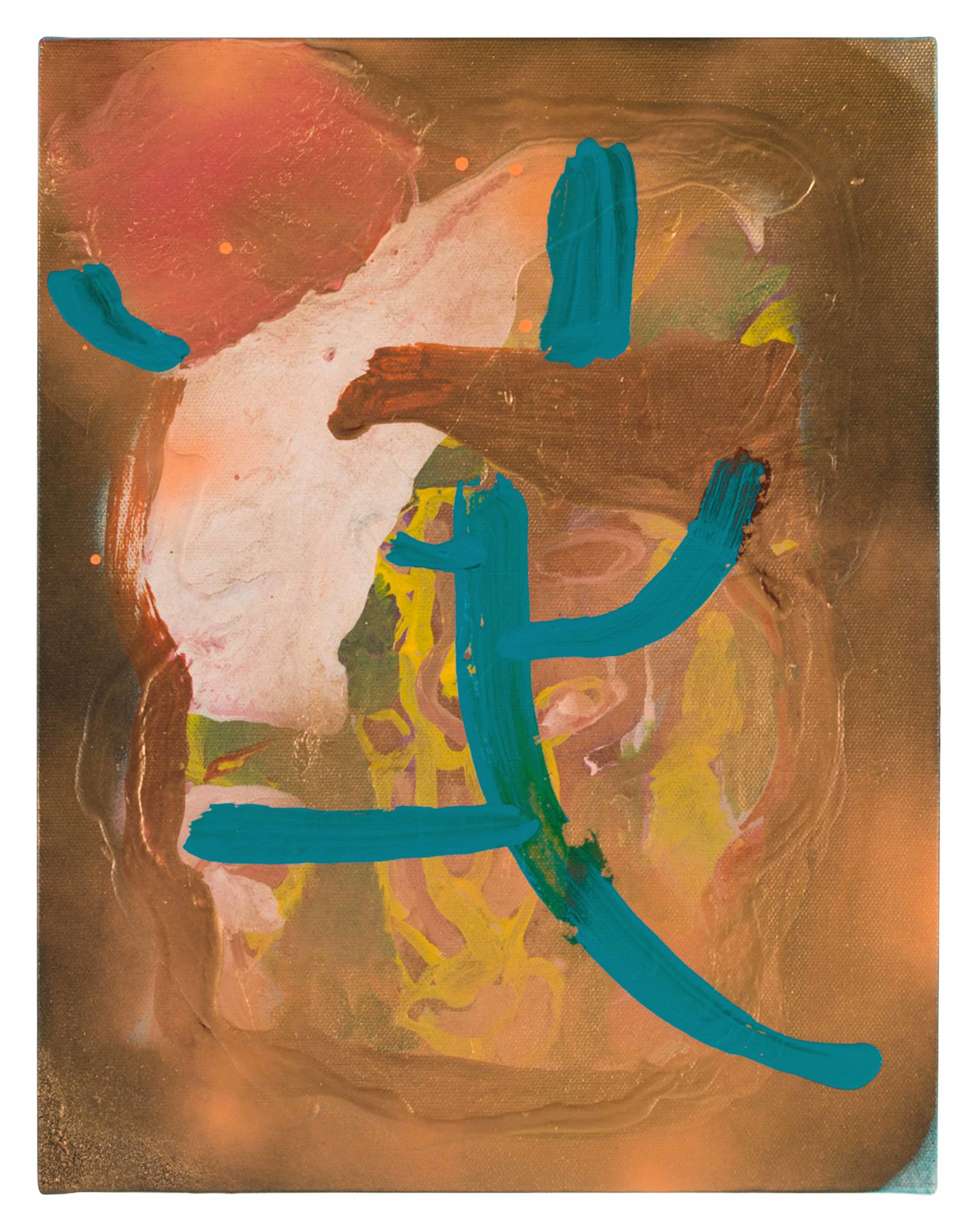 Drew Beattie and Ben Shepard  Blue Limb  2015 acrylic and spray paint on canvas 14 x 11 inches