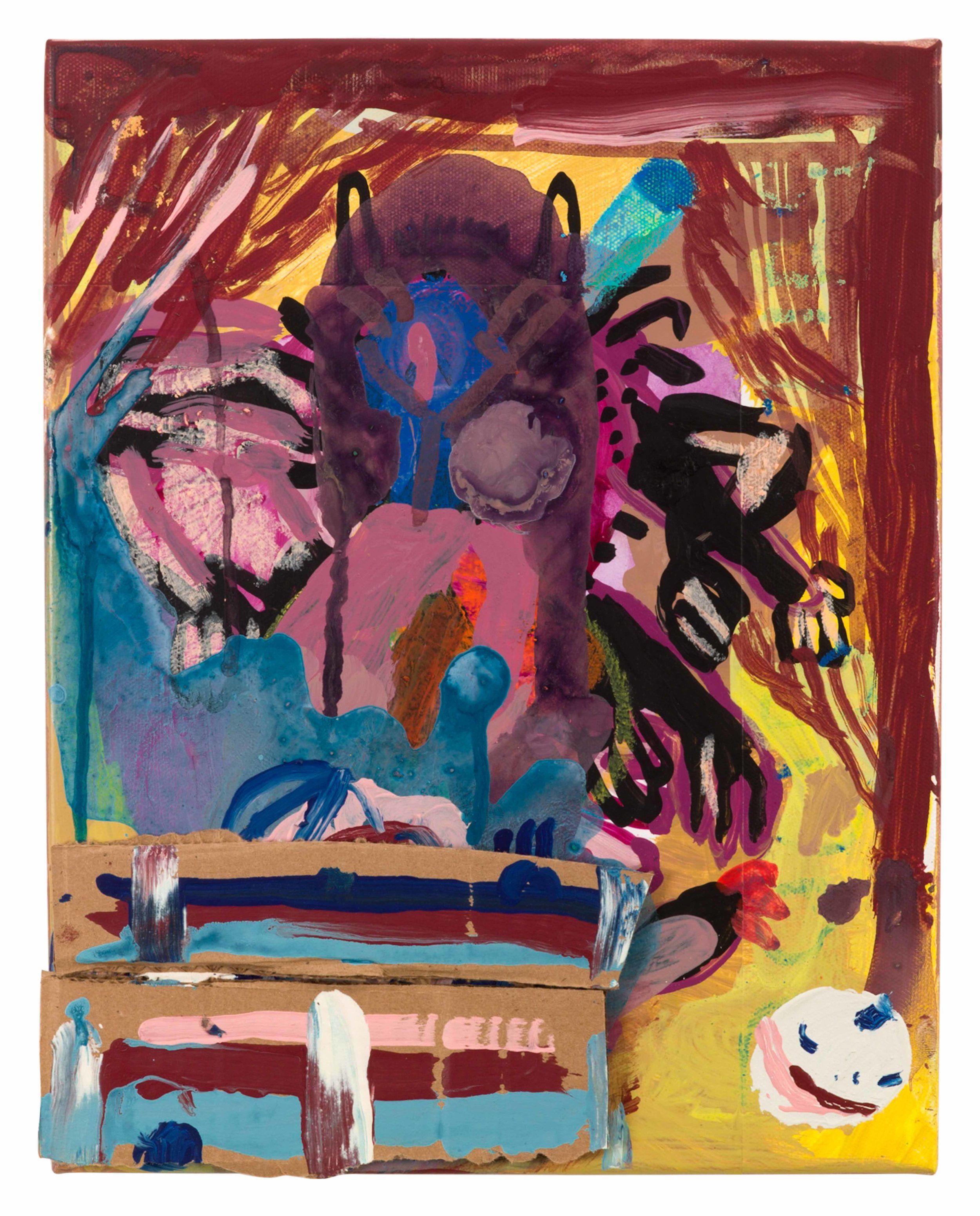 Drew Beattie and Ben Shepard  Theater Scene  2015 acrylic, crayon and cardboard on canvas 14 x 11 inches