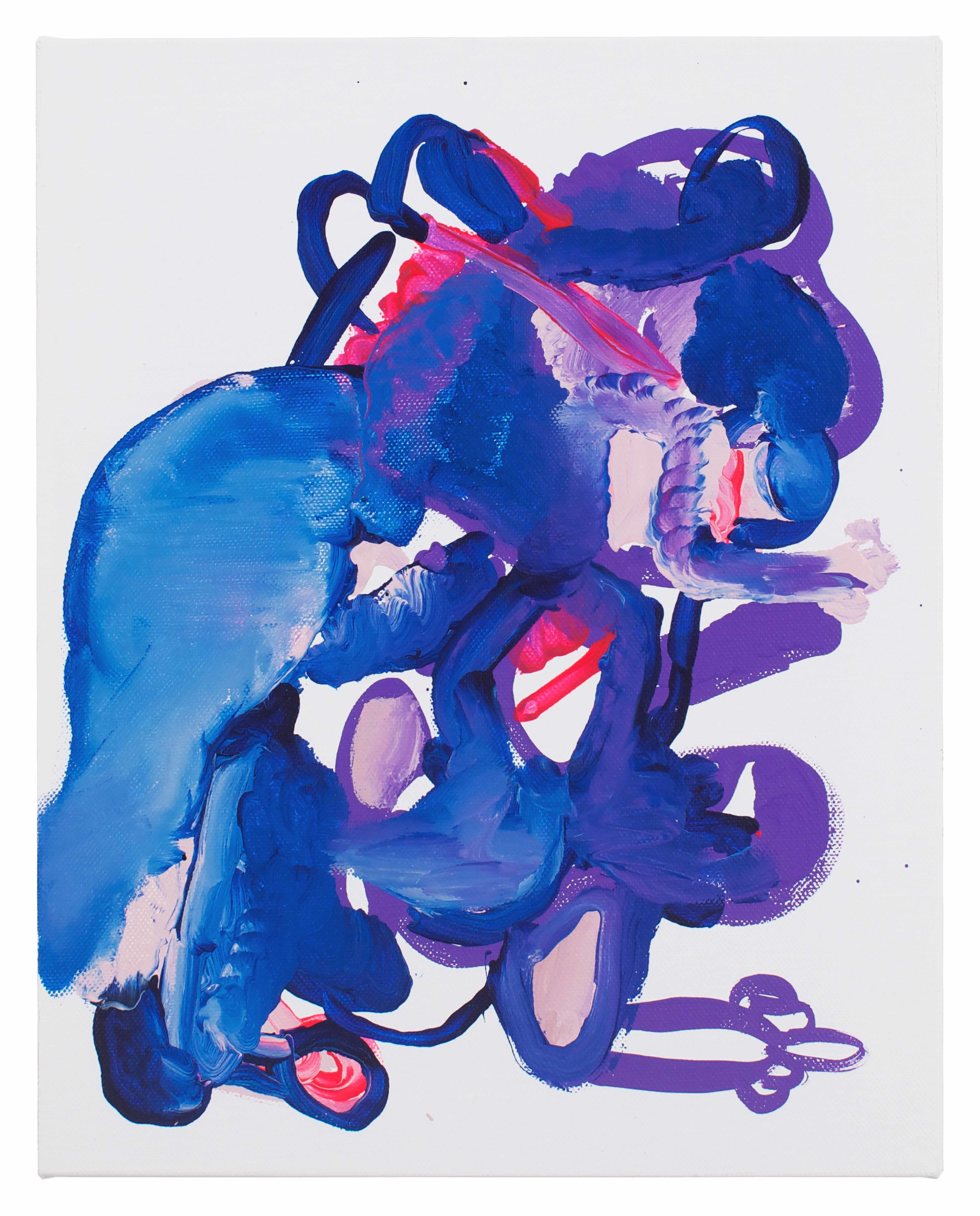 Drew Beattie and Ben Shepard  Blue Figure  2014 acrylic on canvas 14 x 11 inches