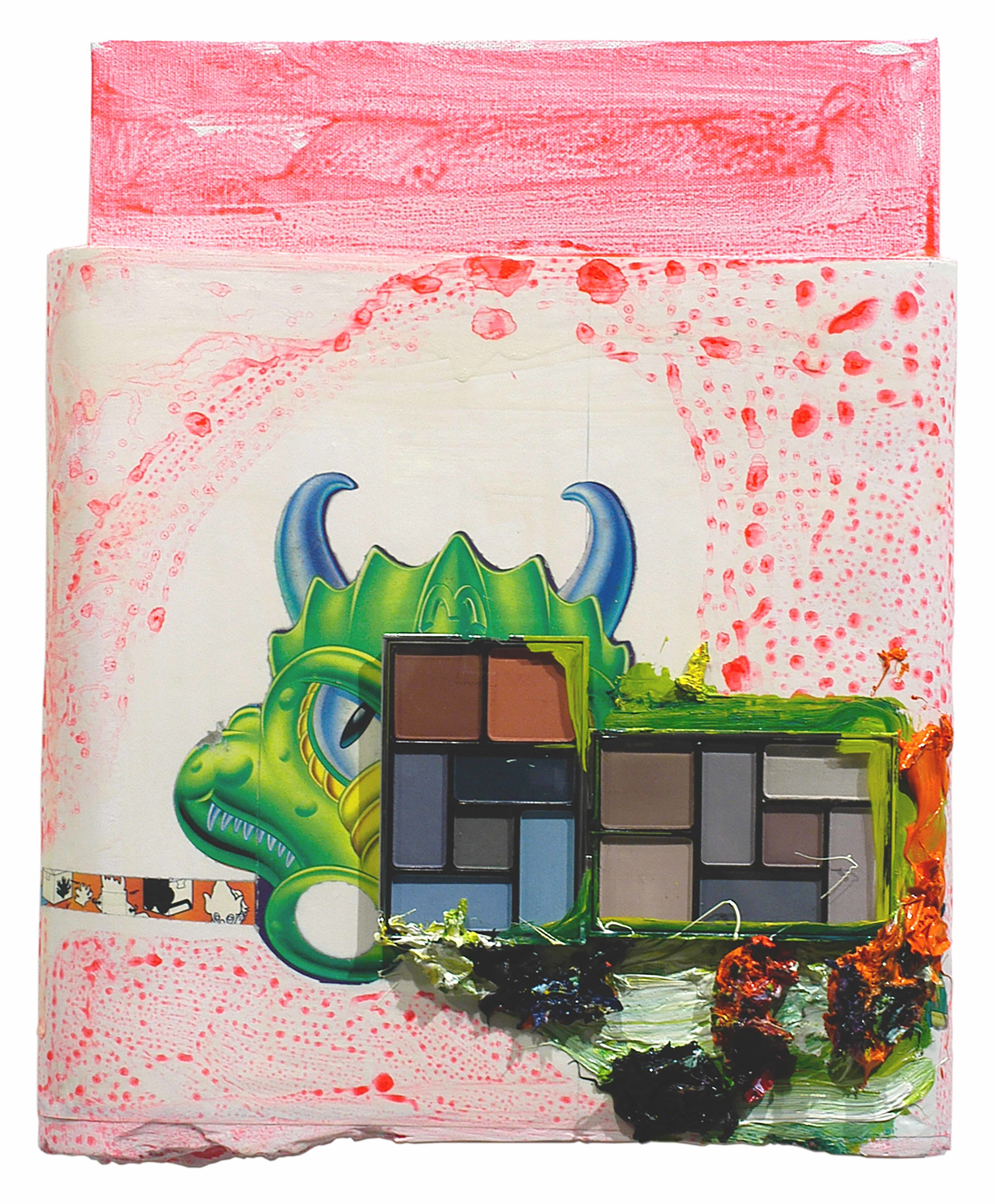 Drew Beattie  Make-up Dragon   2005 oil, acrylic, cosmetic kits, collage and plaster on canvas 14¾ x 11¾ inches