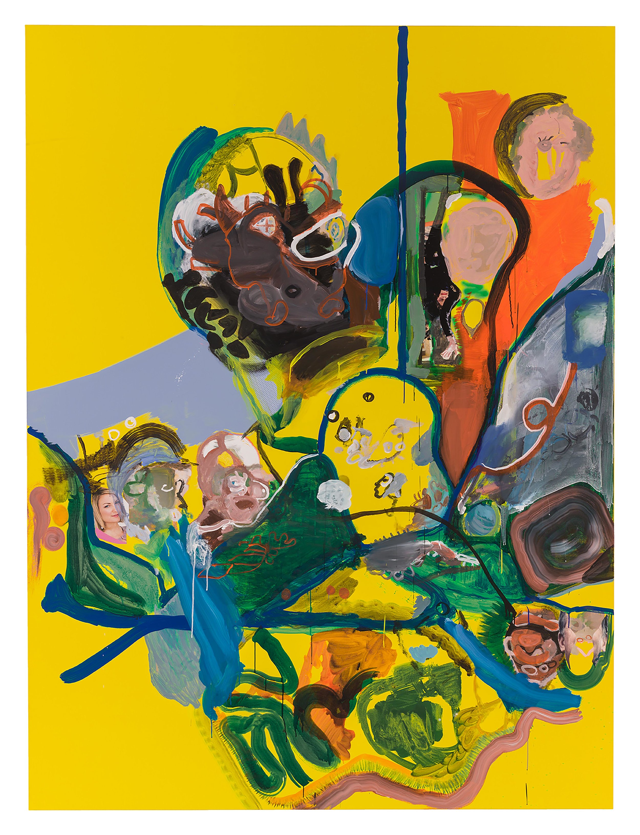 Drew Beattie  Fruit in the Morning  2010 acrylic and collage on canvas 120 x 90 inches