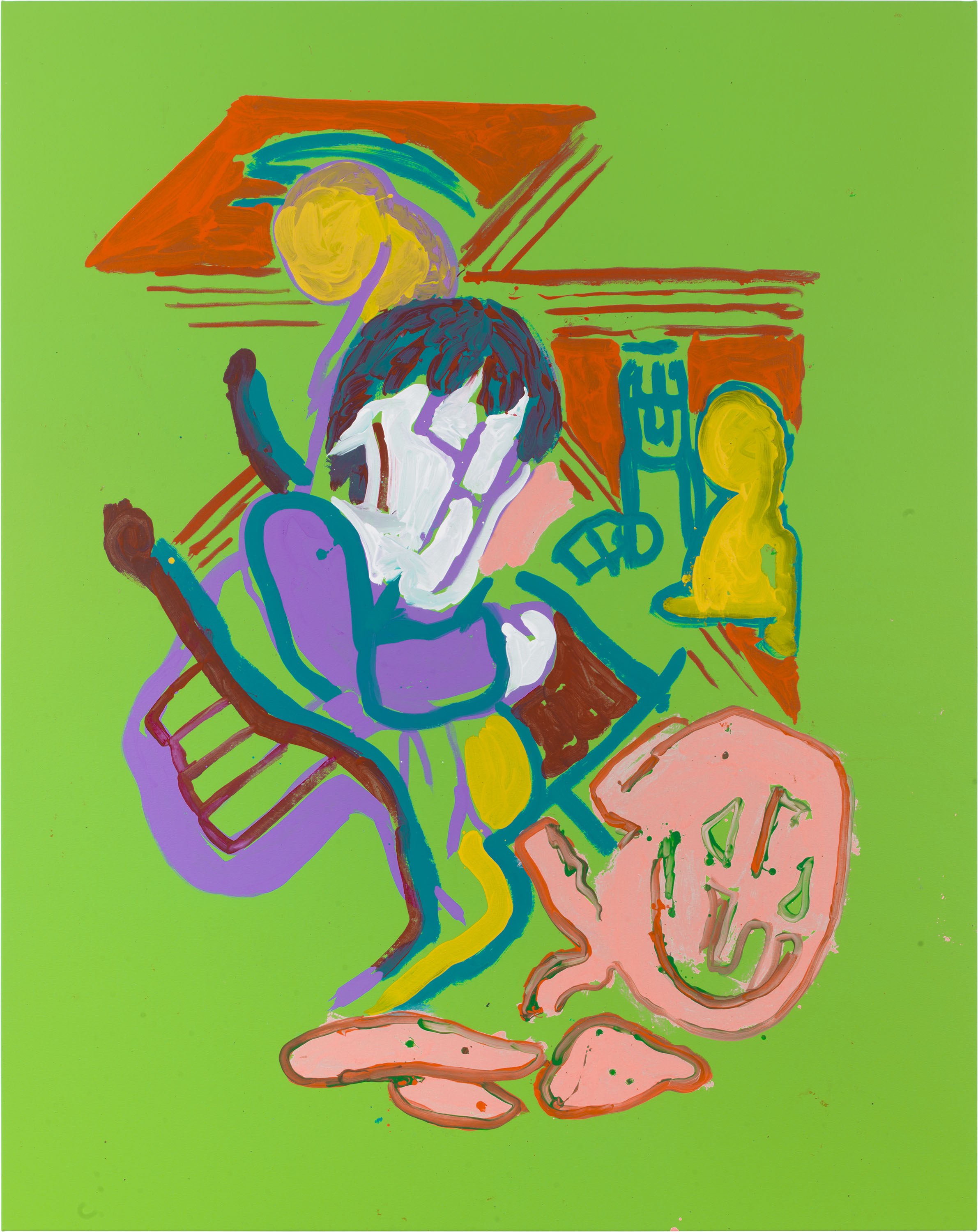 Drew Beattie  People on Green  2018 Acrylic on canvas 96 x 76 inches