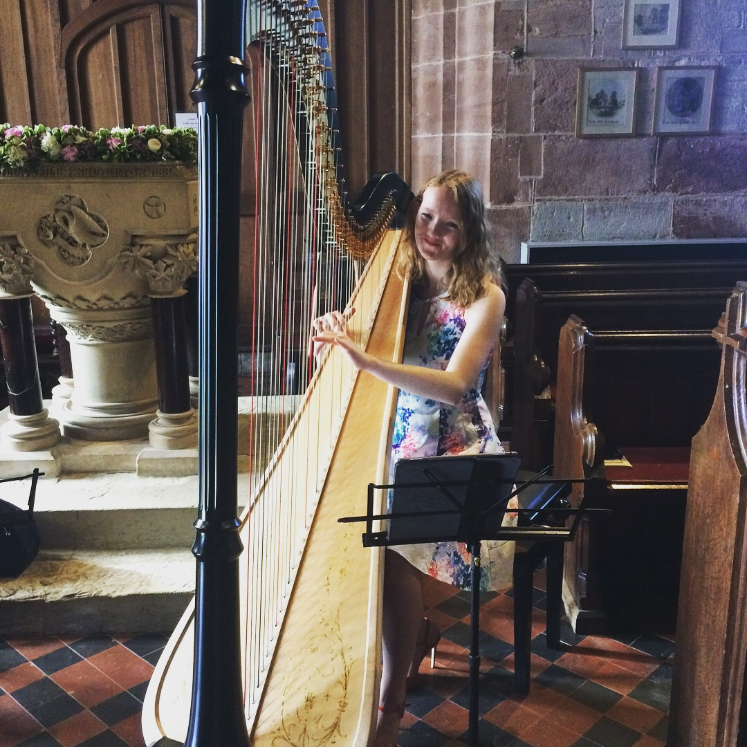 Alis playing beautiful harp for pre ceremony music
