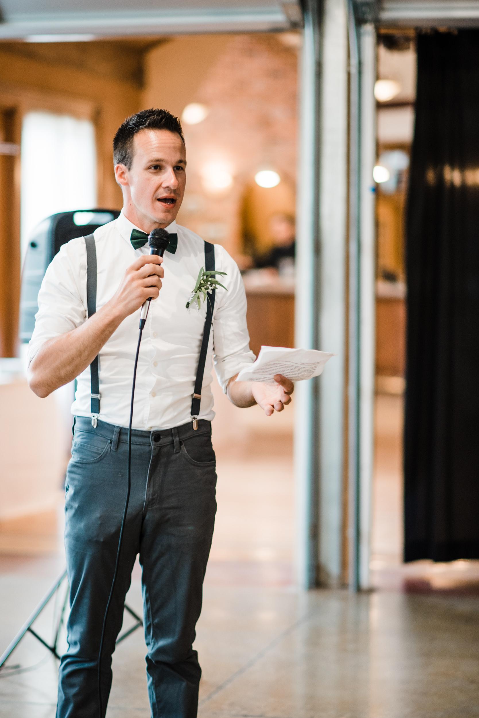Colorado mountain wedding photographer at Brookeside Gardens wedding reception speeches
