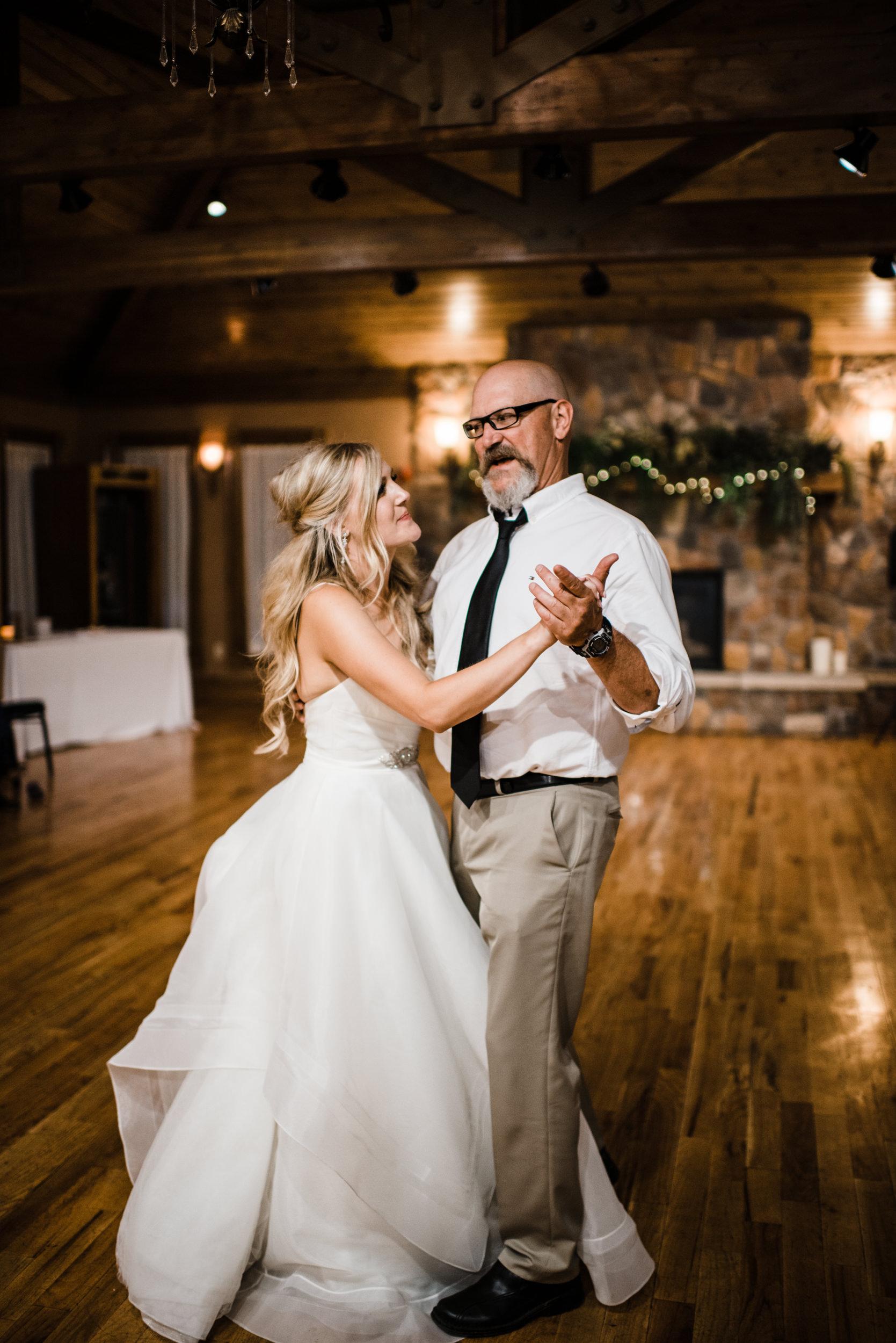 Colorado mountain wedding photographer at Brookeside Gardens wedding reception dances