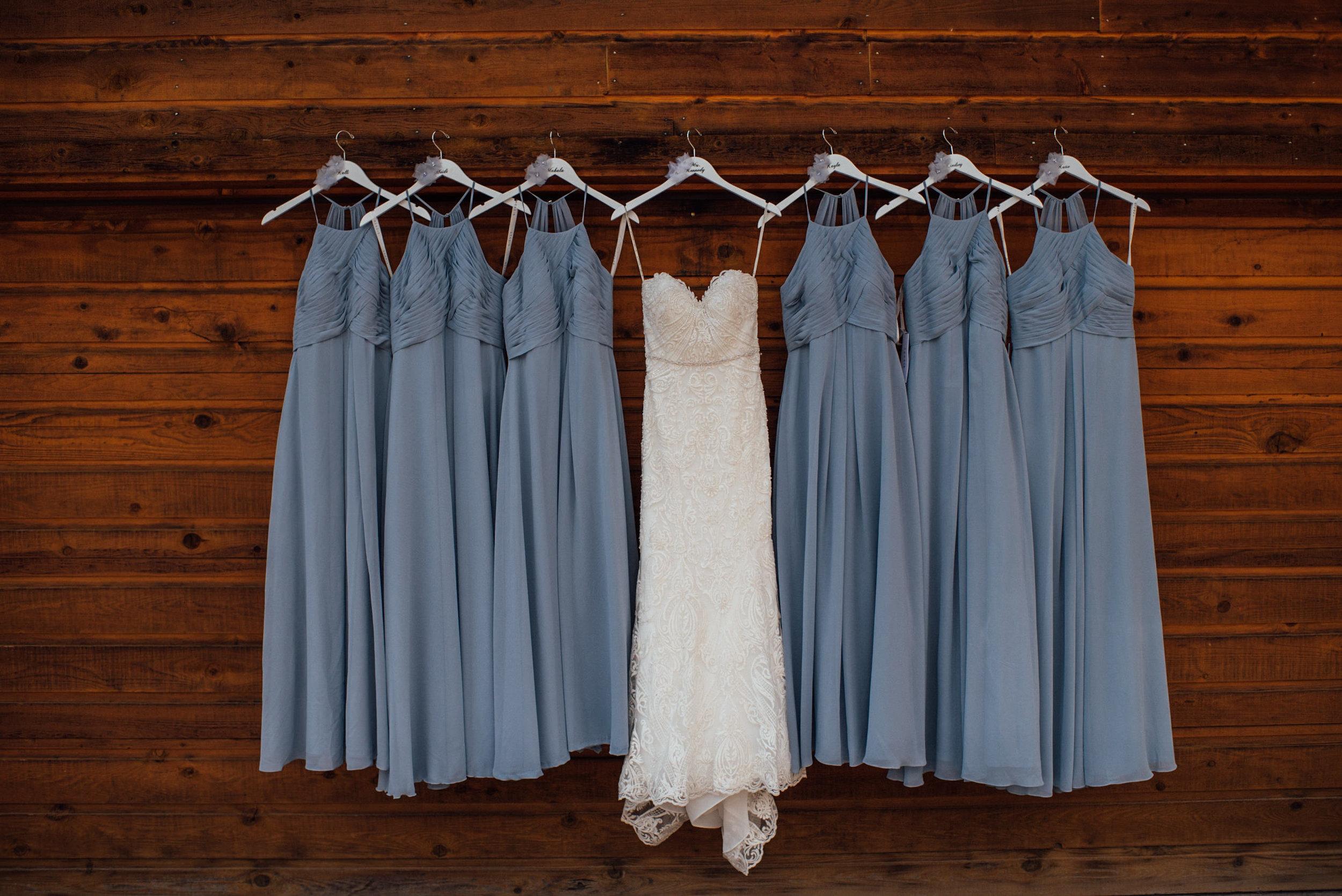 Bride and bridesmaid dress at Keystone, Colorado mountain wedding