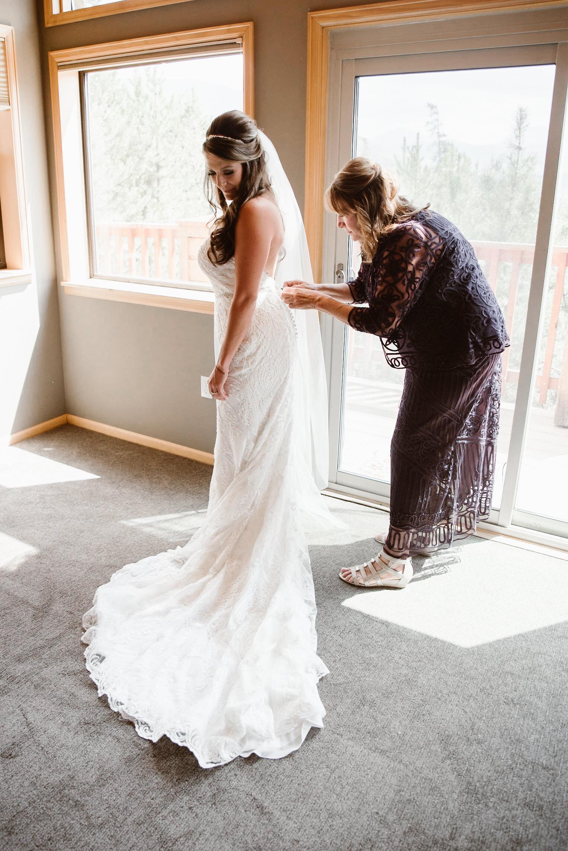 Bride and mother of the bride at Keystone, Colorado mountain wedding