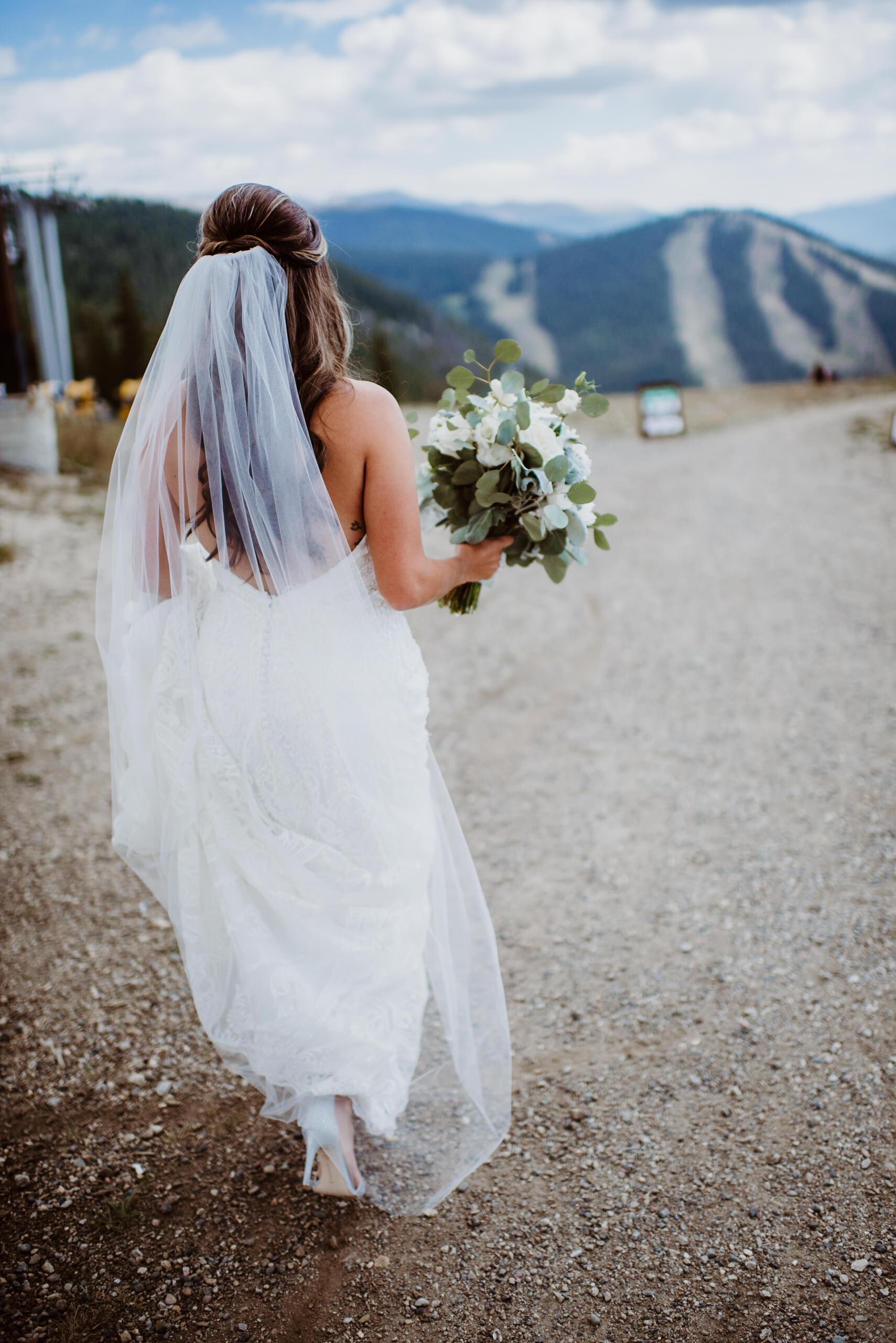 Bride at first look at Keystone, Colorado mountain wedding