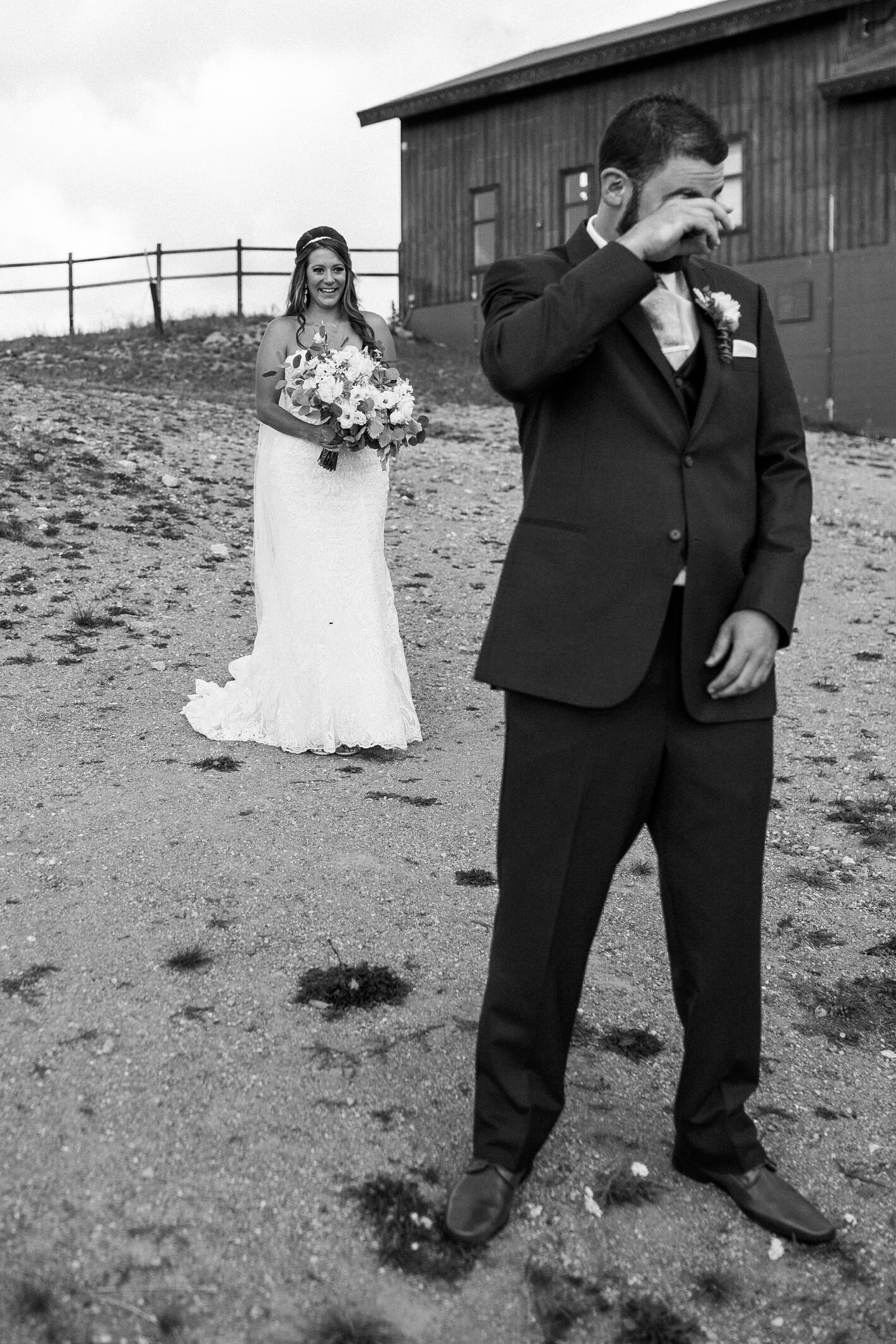Bride and groom for the first look at Keystone, Colorado mountain wedding