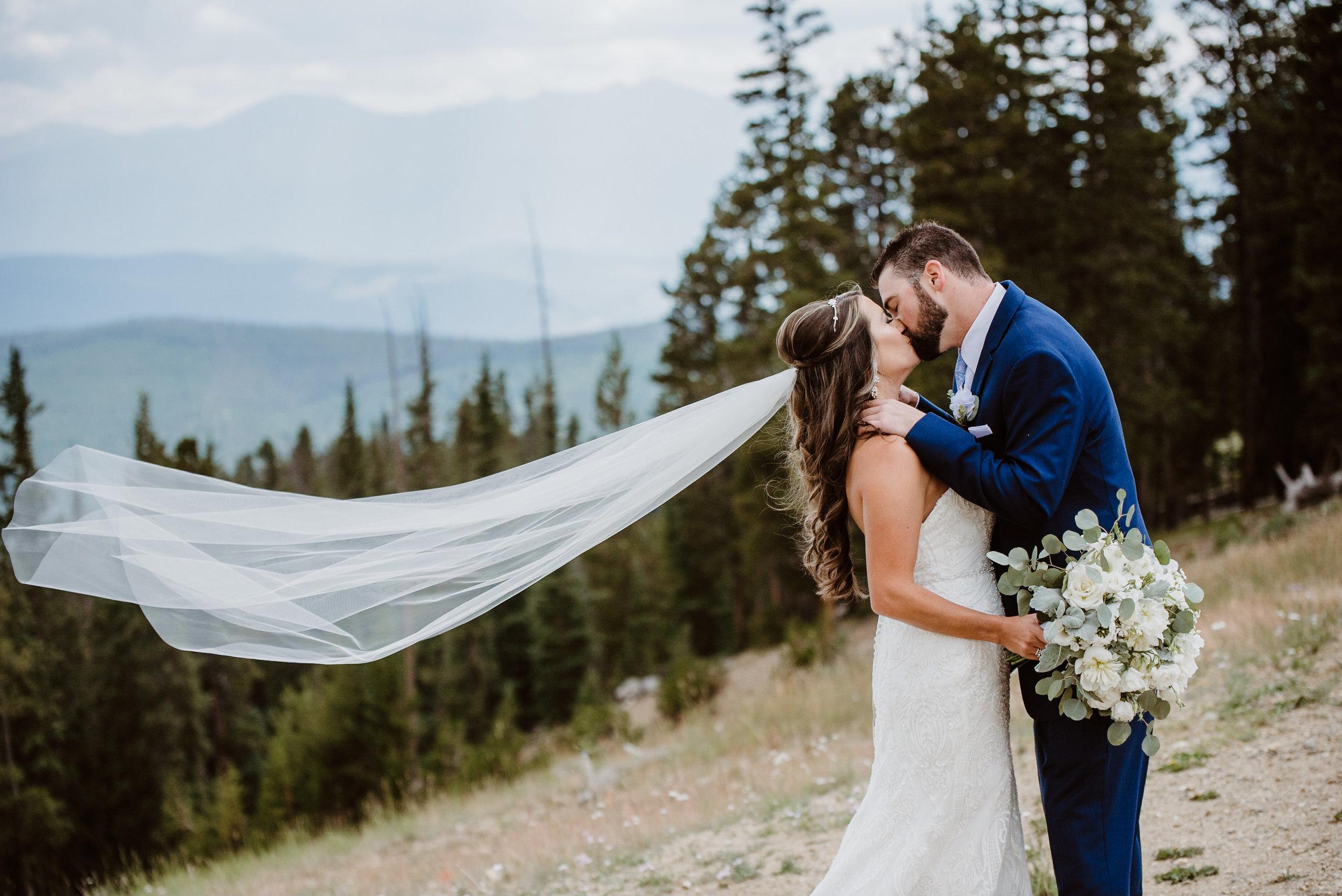 Bride and groom at Keystone, Colorado mountain wedding