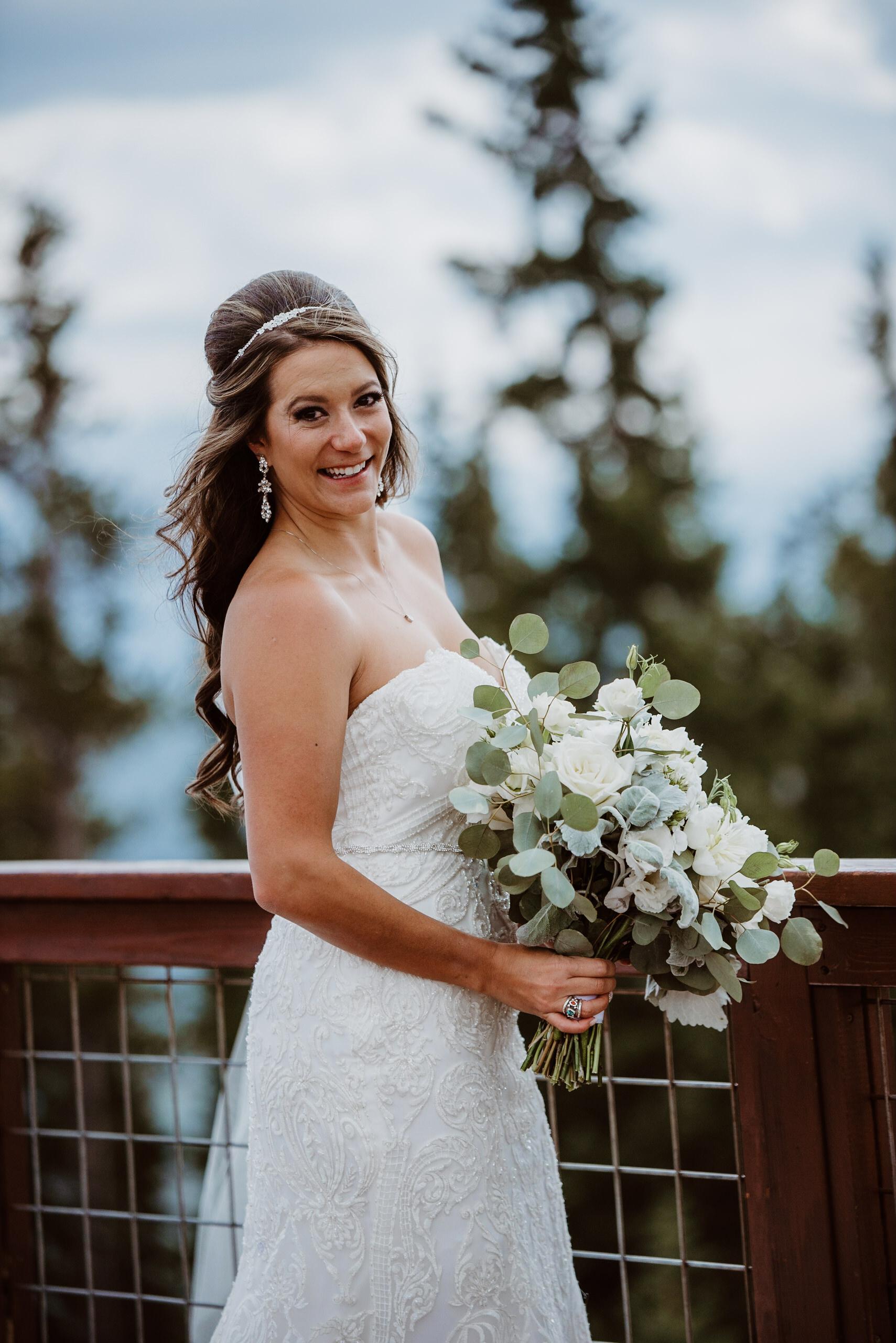 Bride at Keystone, Colorado mountain wedding