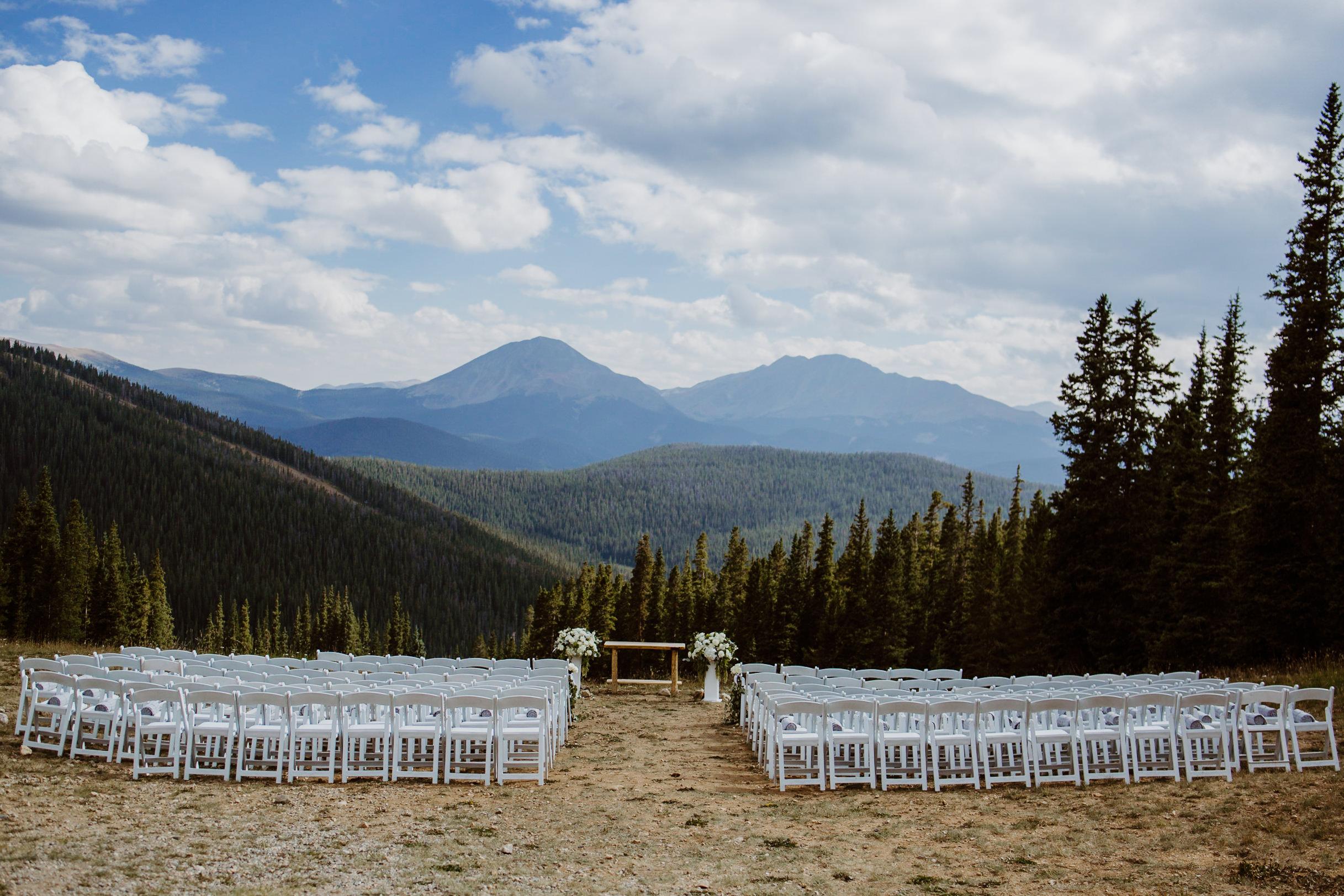 Mountain outlook at Timber Ridge at Keystone, Colorado mountain wedding