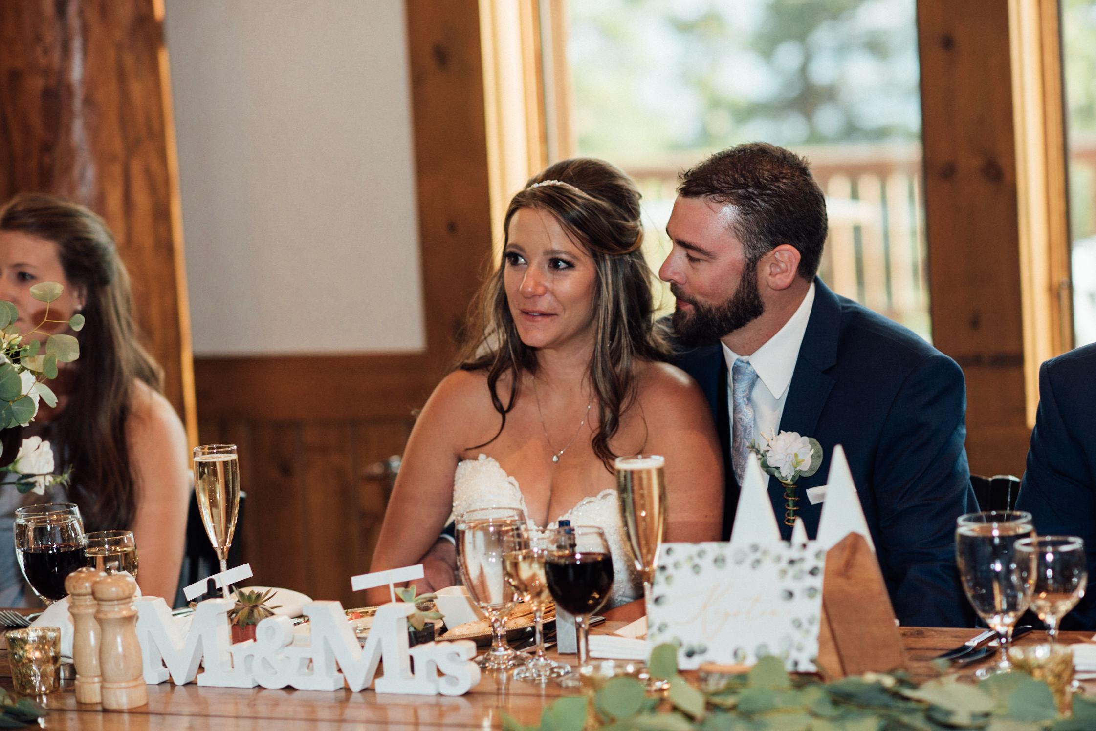 Speeches at TImber Ridge at Keystone, Colorado mountain wedding