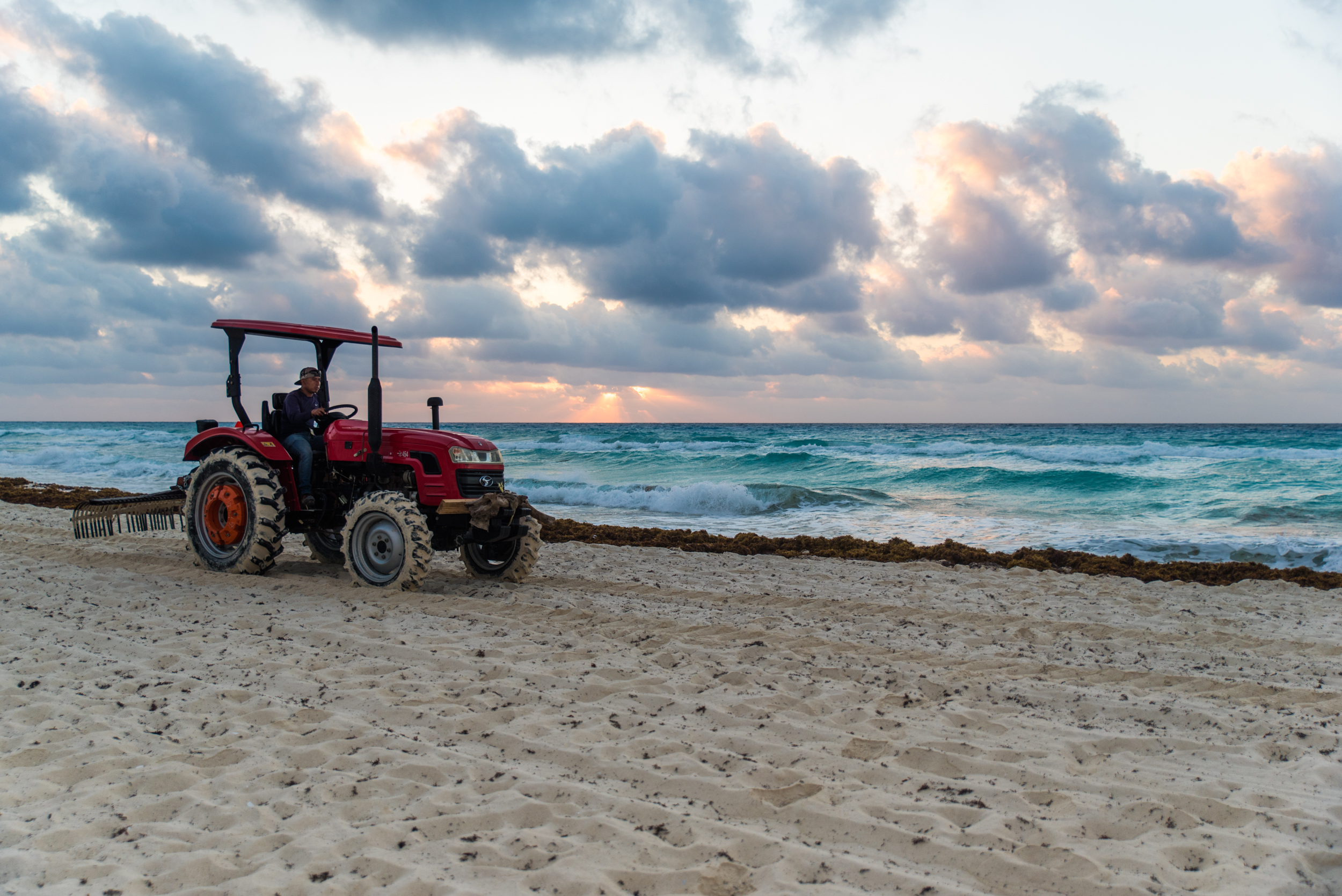 Just combing the beach in Mexico with the tractor. Getting up at 5am was oddly my favorite part of the trip.