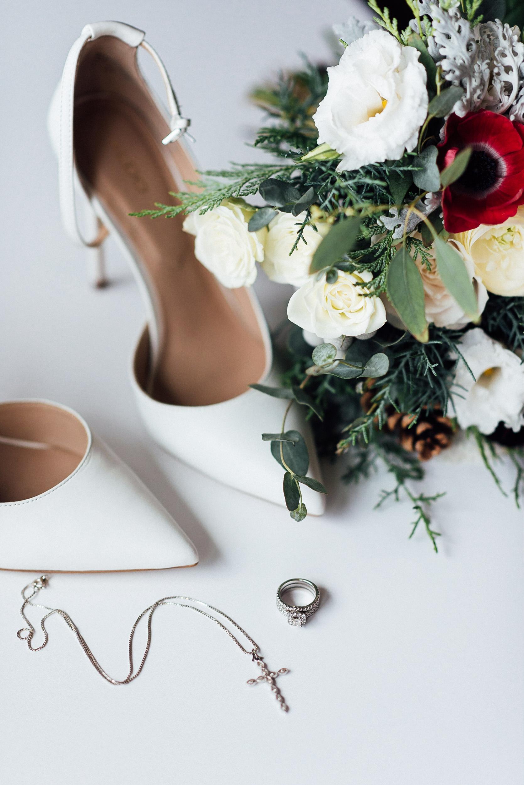 Beautiful wedding shoes at the Lodge at Breckenridge, Colorado, Colorado Wedding Photographer