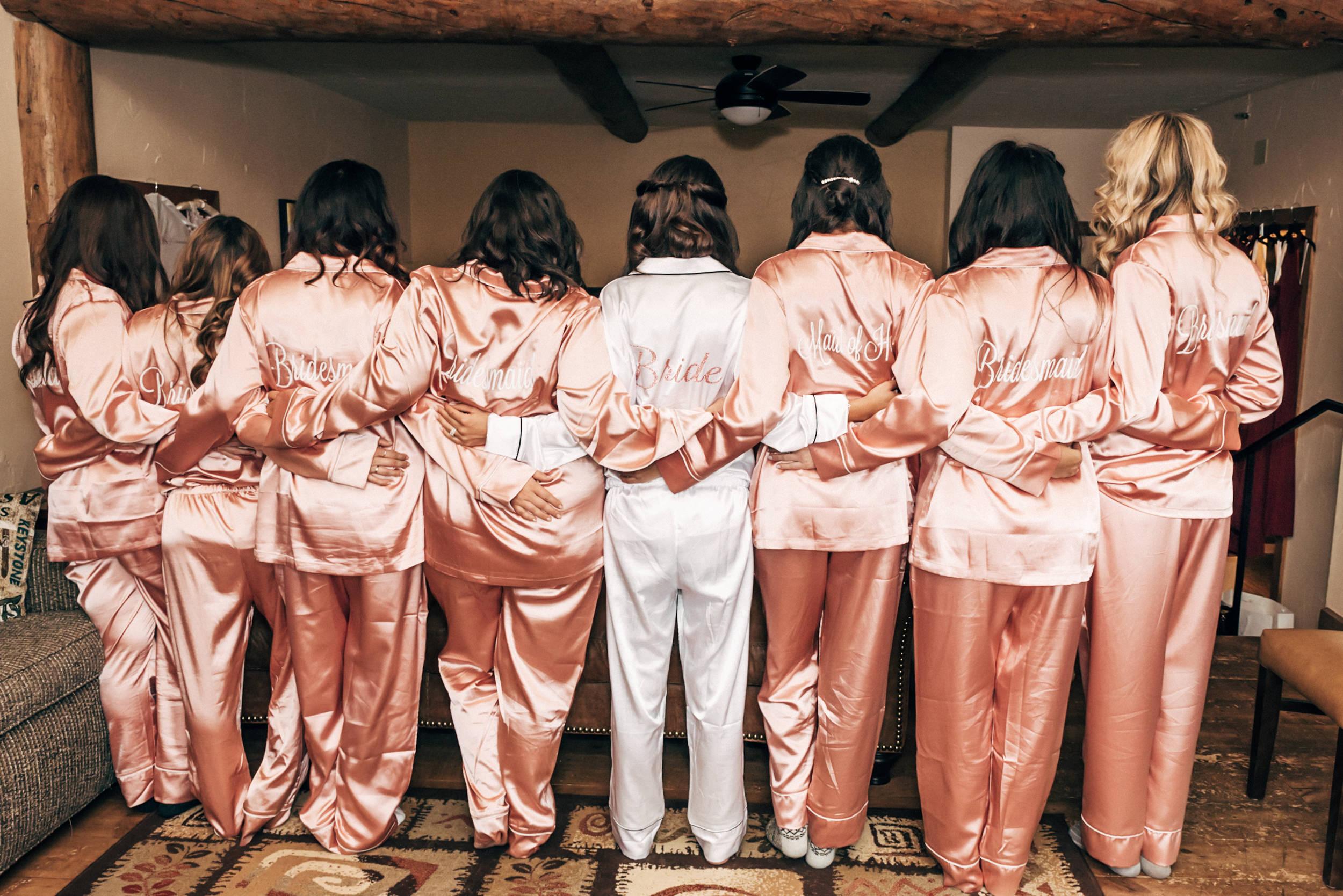 Cute bridesmaids pajamas at Colorado wedding at the Lodge at Breckenridge, Colorado wedding Photographer
