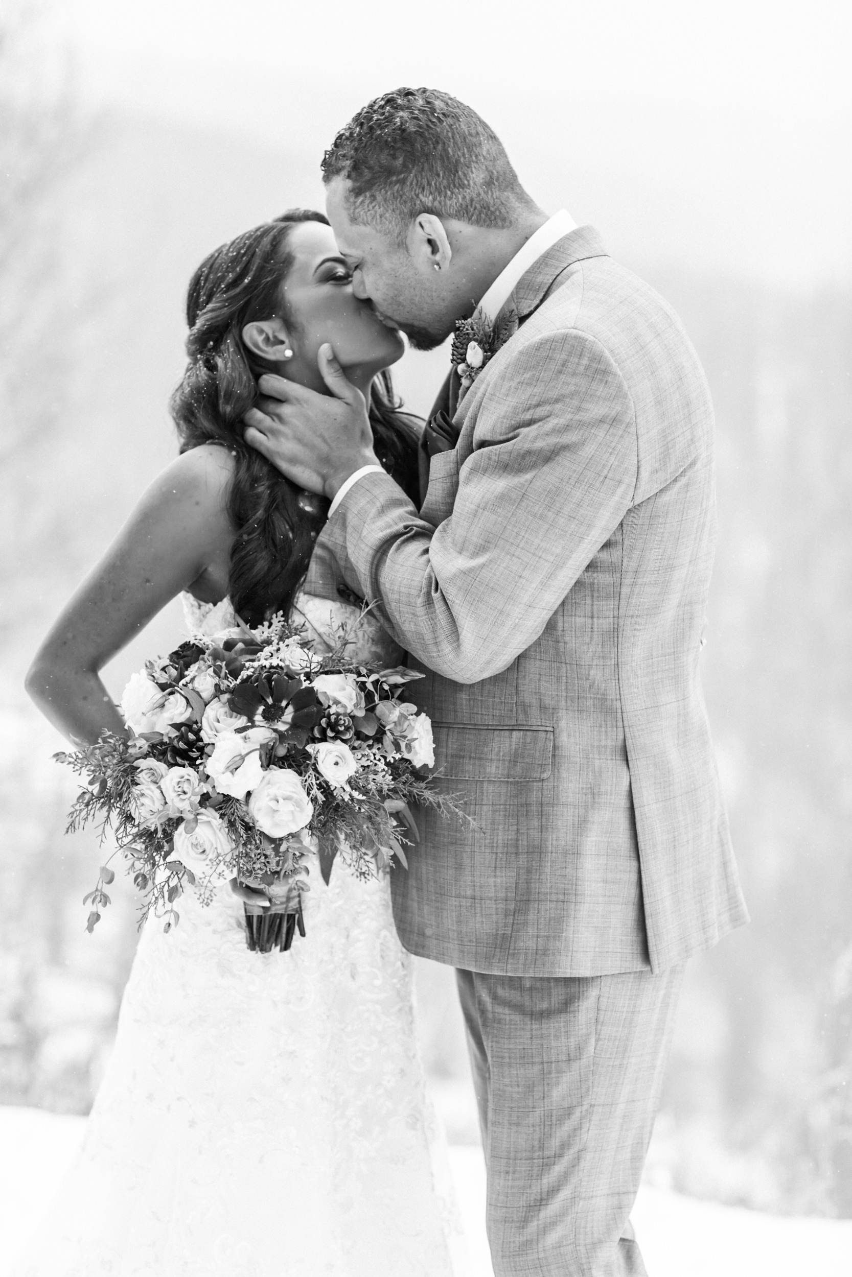 Mountain kisses in Summit County, Colorado wedding photographer.