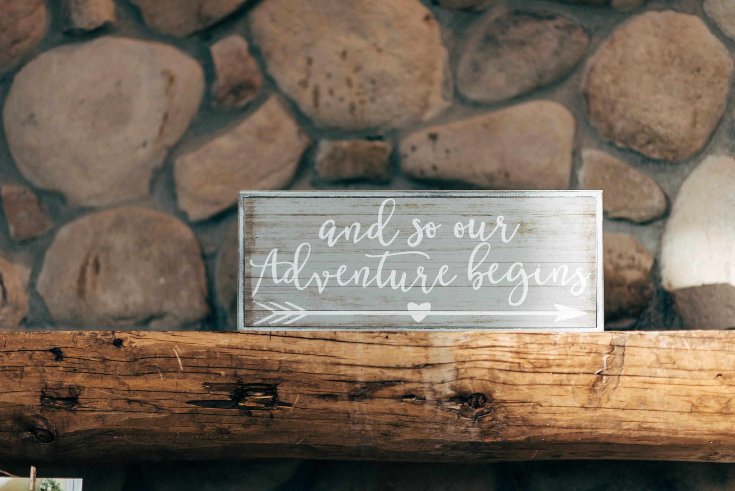 Adventure wedding sign. Colorado wedding photographer.