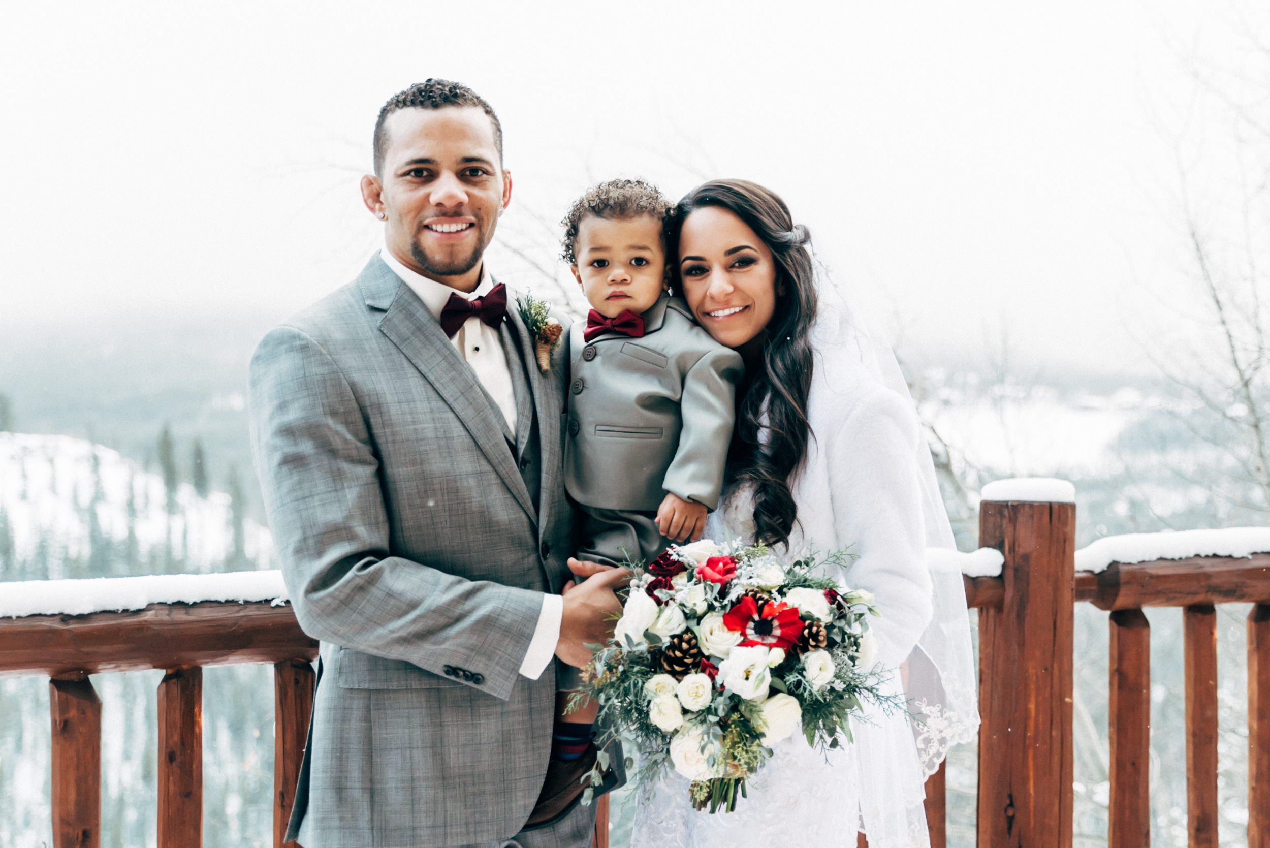 Family portrait in a winter wedding in Summit County Colorado.