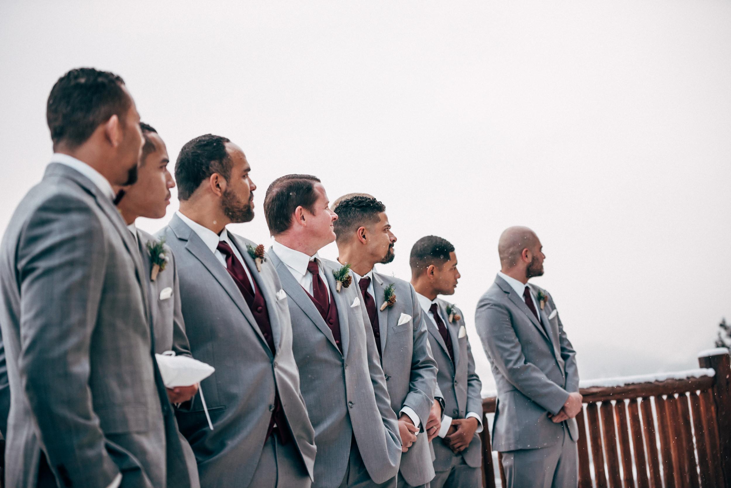 Groomen's men at Breckenridge ceremony. Colorado wedding photographer.