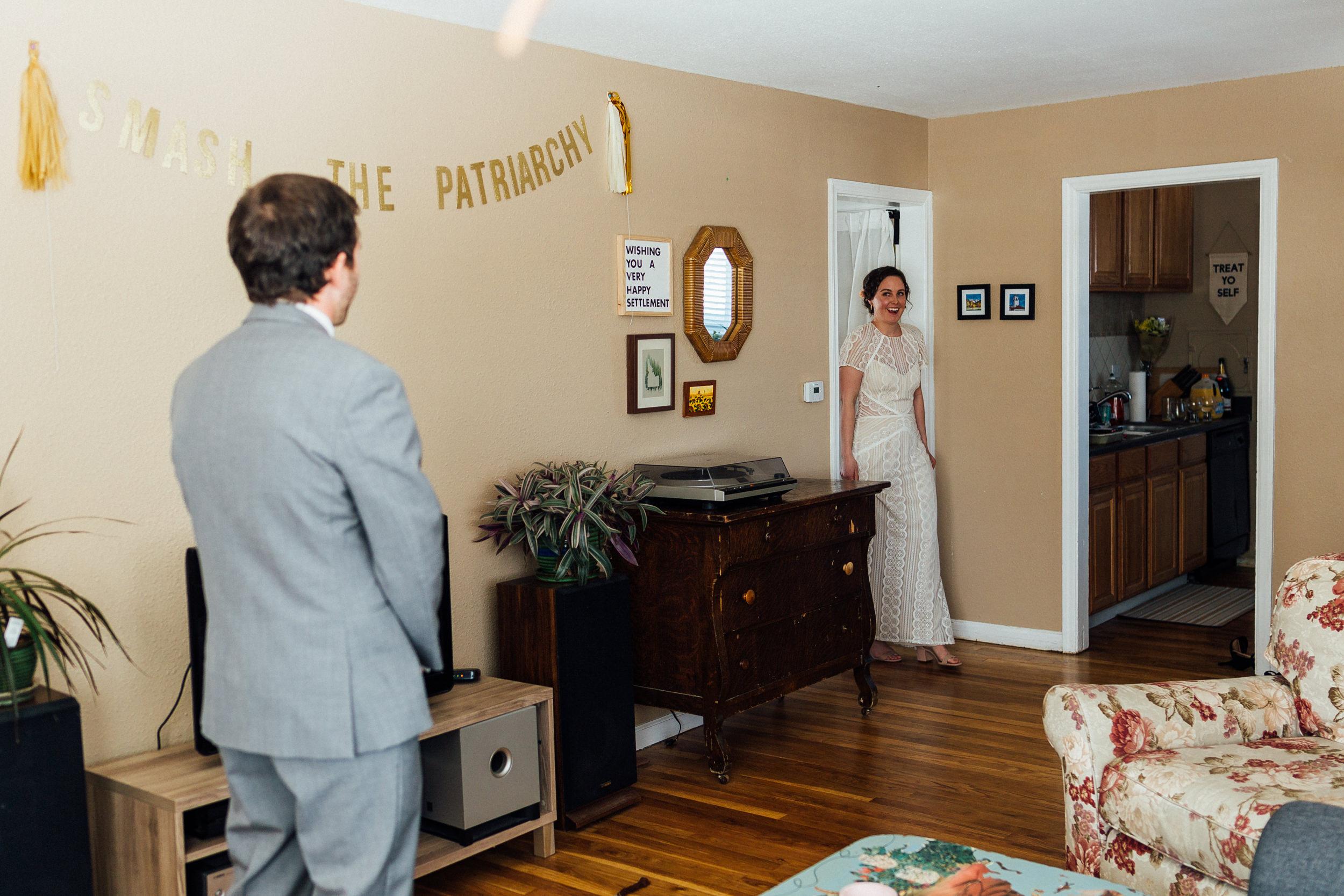 Bride at first look of intimate Colorado wedding-best Colorado wedding photographers