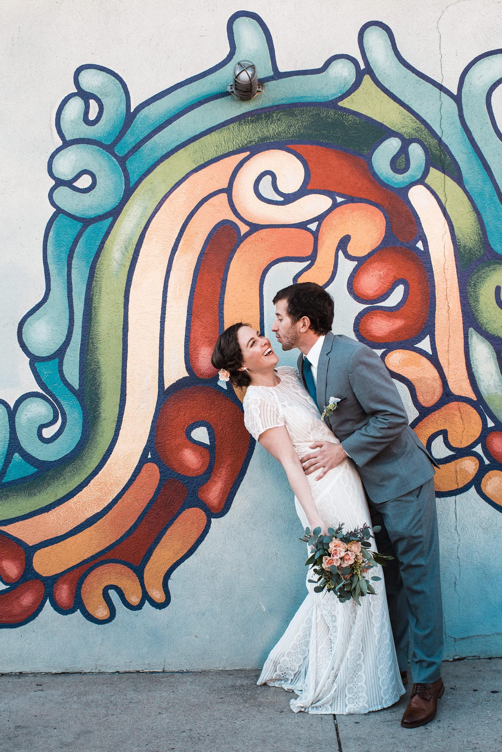 Wedding portraits-Denver street art-mural-Colorado Kate Photography