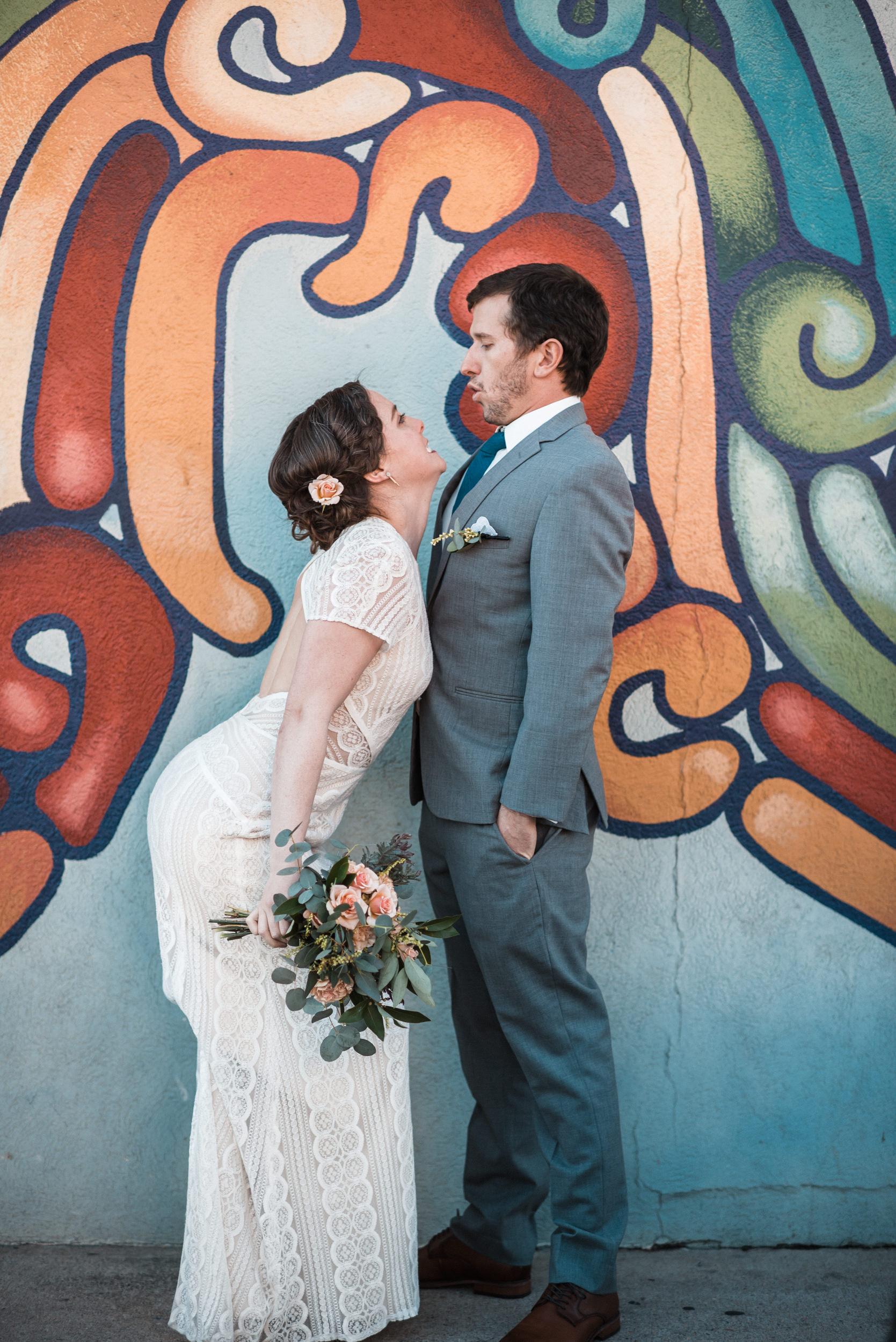 Colorado graffiti wedding portraits-Denver Best Wedding Photographer
