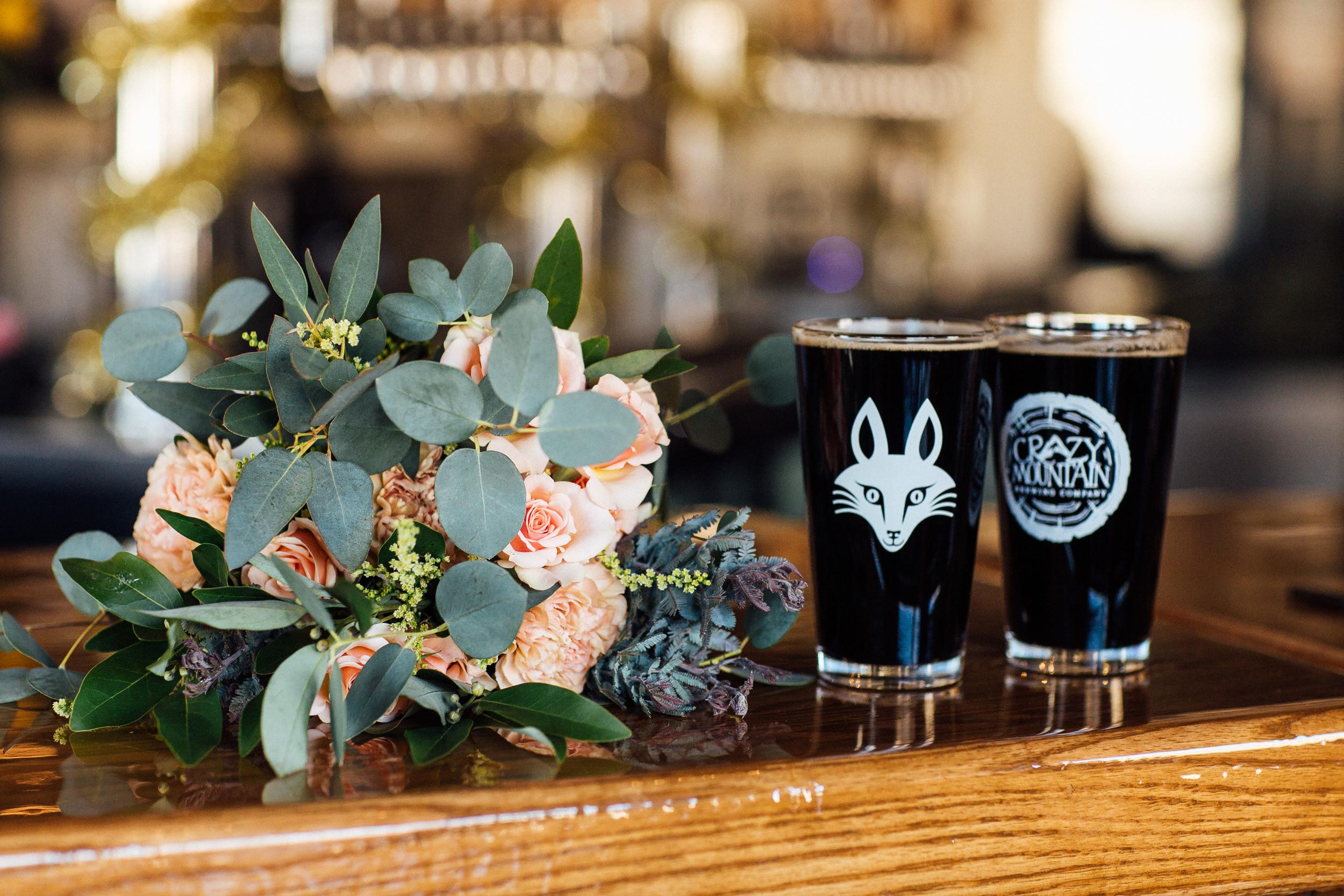 Bridal bouquet and beer-Denver Colorado Wedding-Brewery-Colorado Wedding Photography