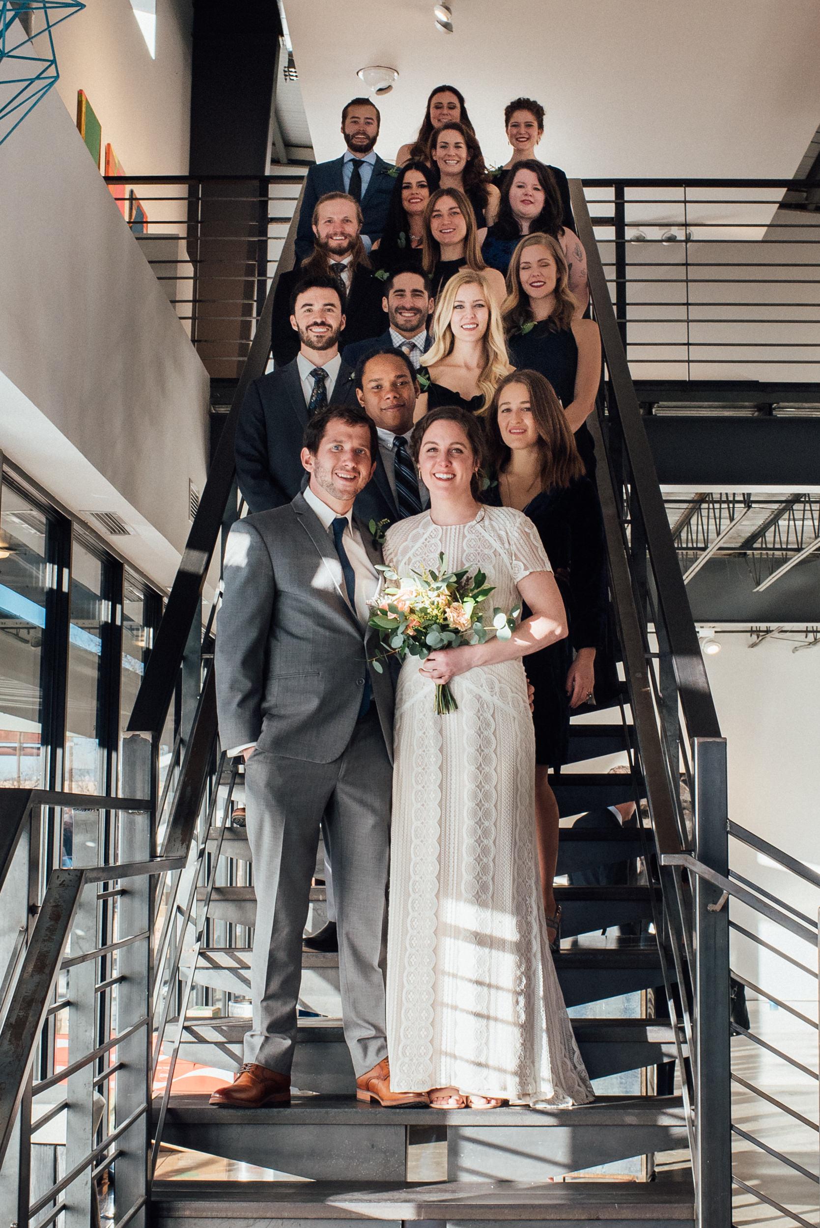 Fierce Bridal party at intimate Denver Space Gallery Wedding-Colorado Wedding Photographer