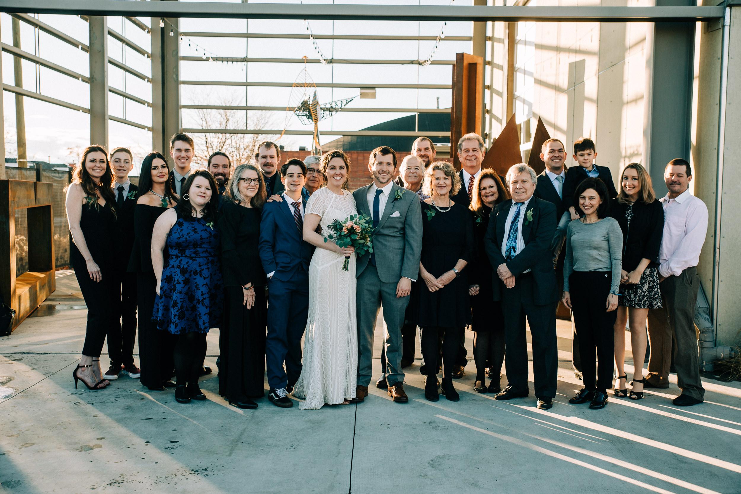 Wedding Family portraits at the Space Gallery sculpture garden-Denver Wedding Photographer-Colorado Kate Photography