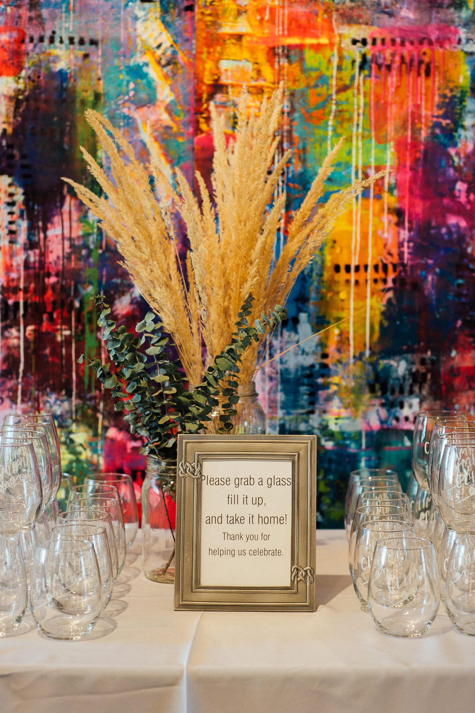 Love Bomb Company amazing wine glass at Denver Space Gallery Wedding-Denver Wedding Photographers
