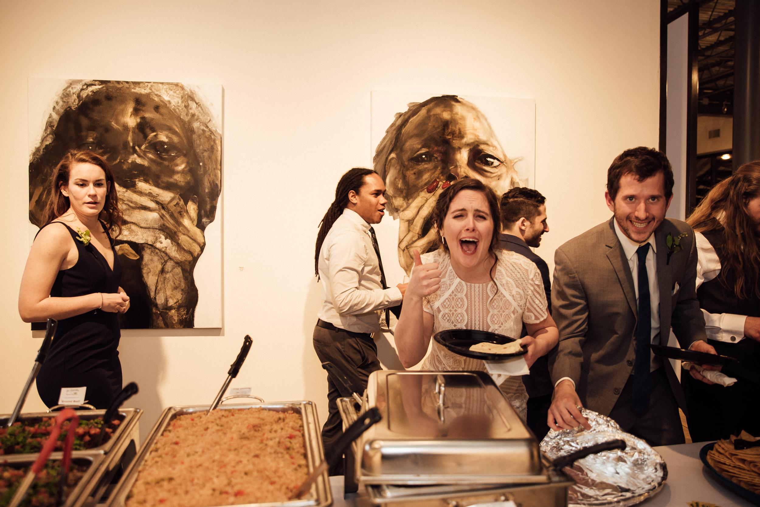 Taco bar reception at Colorado's Space Gallery wedding-Colorado Wedding Photographer