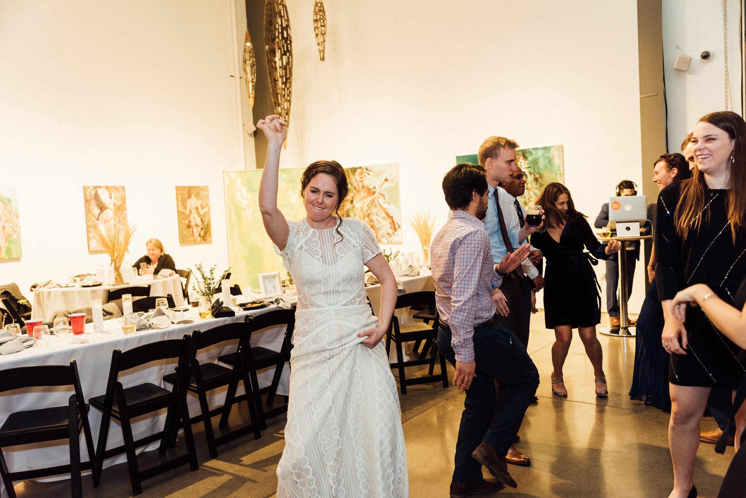 Happy Bride at the Space Gallery-Denver Colorado.