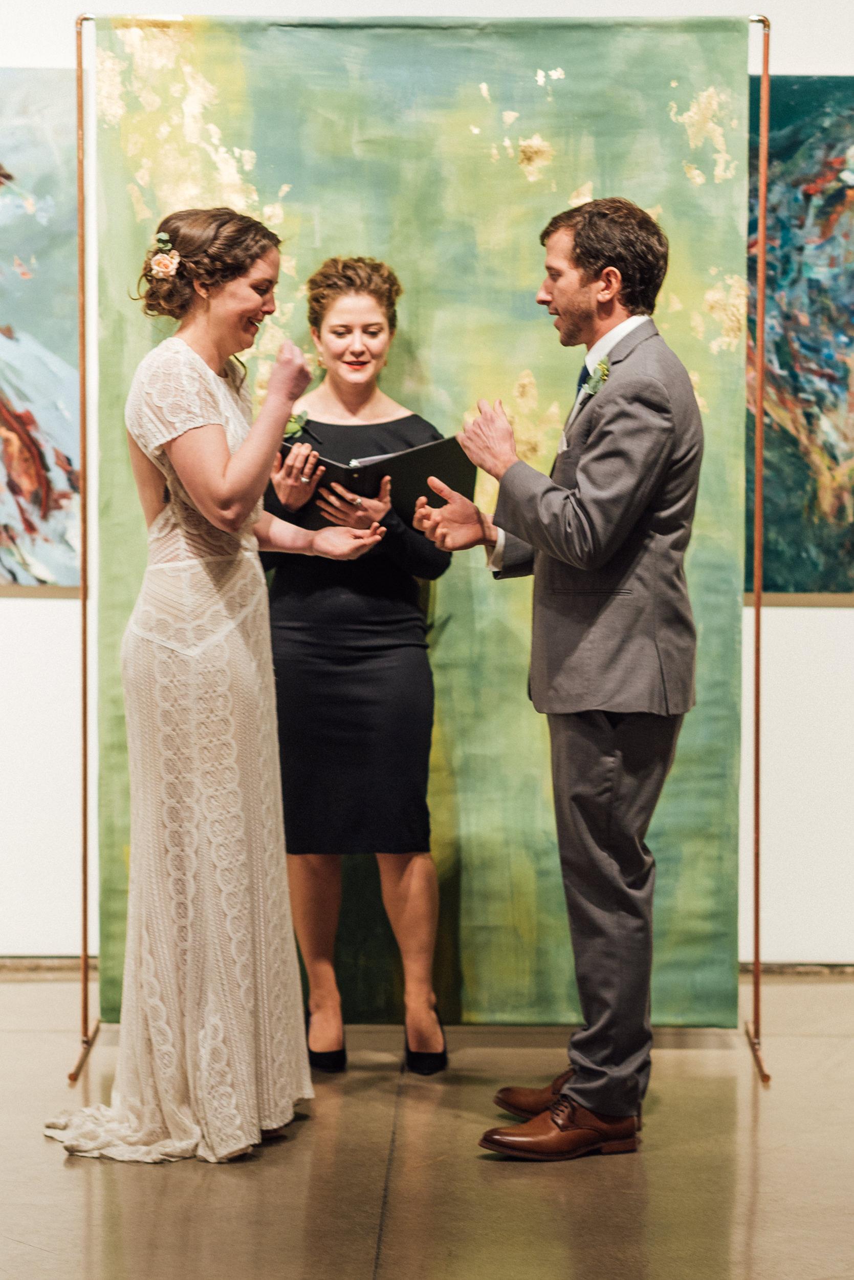 Rock Paper Scissors at Space Gallery for Wedding Vows-Denver, Colorado