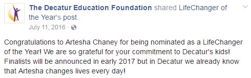 Facebook - Post the nominee's profile on your school or district Facebook page. Use #LCOY and share a story about your nominee and tell everyone why they are a LifeChanger. Include a link to the nominee's profile and encourage the school community to leave a positive comment to support the nomination.