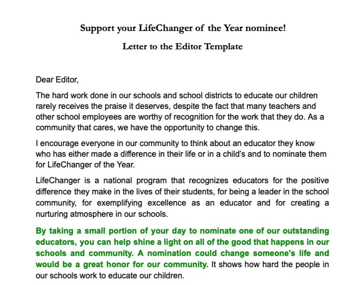 Letter to Editor - Can also be sent to parents and/or faculty