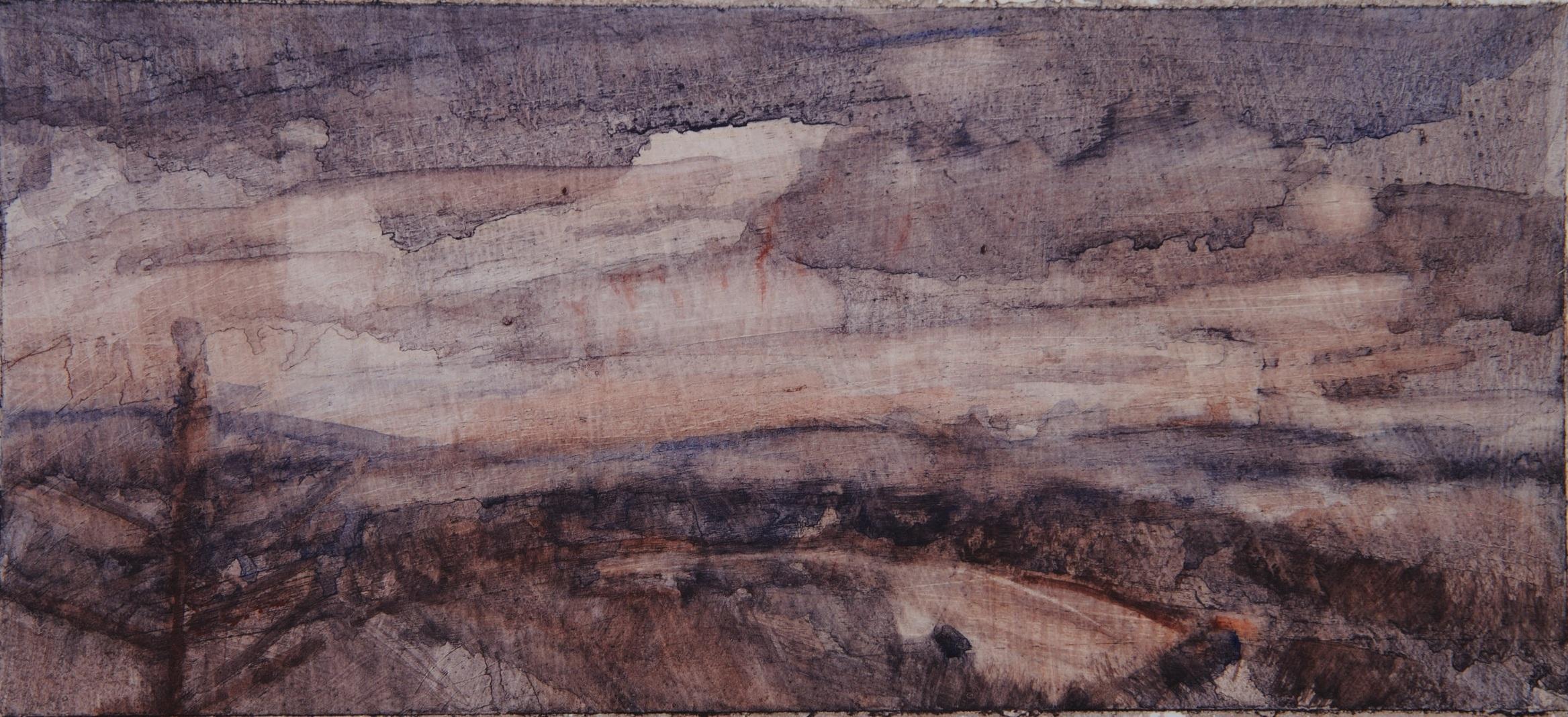 Umbrian Sunset: Oil Sketch
