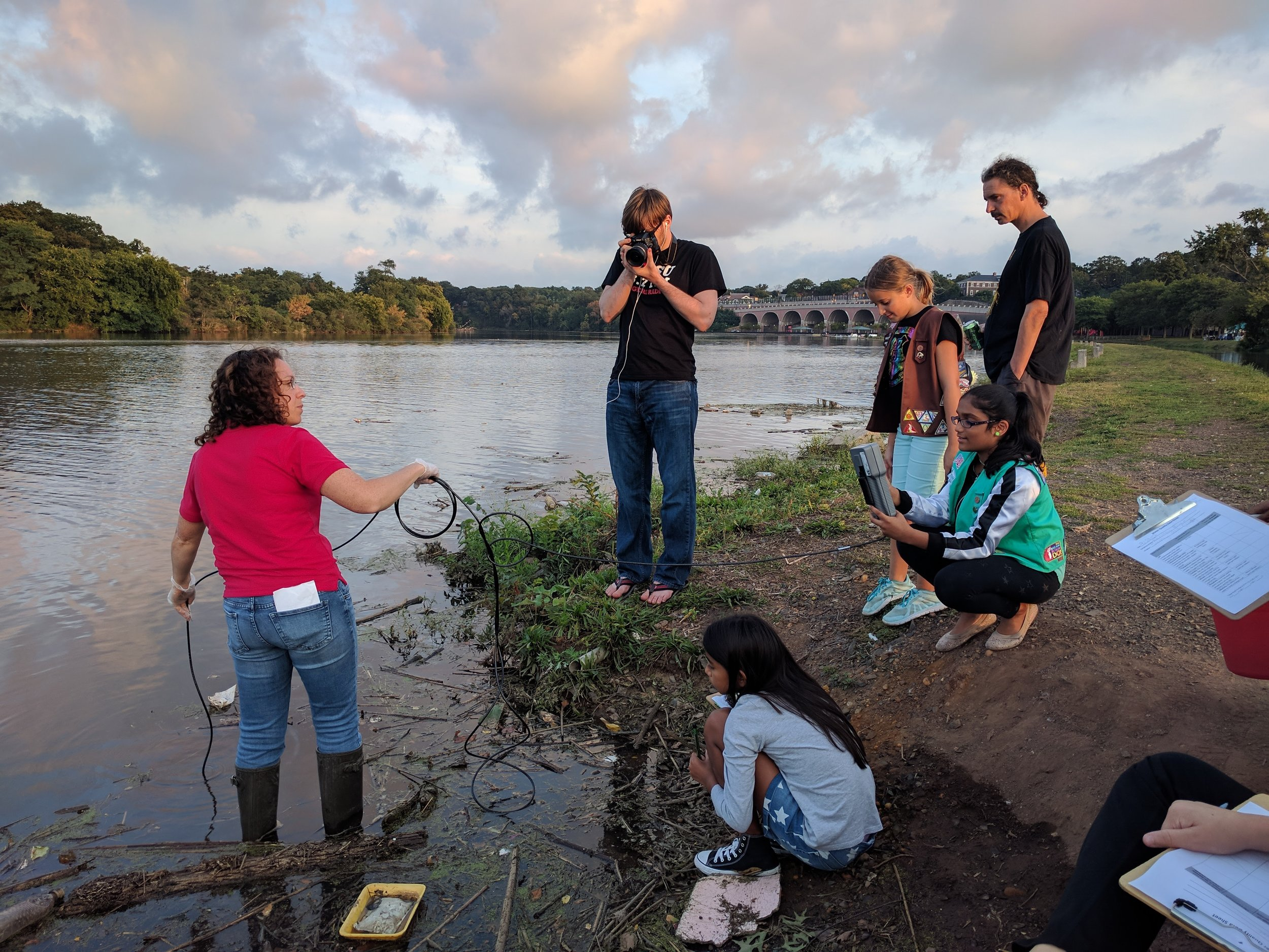 Girl Scouts testing the water on World Water Monitoring Day in 2017