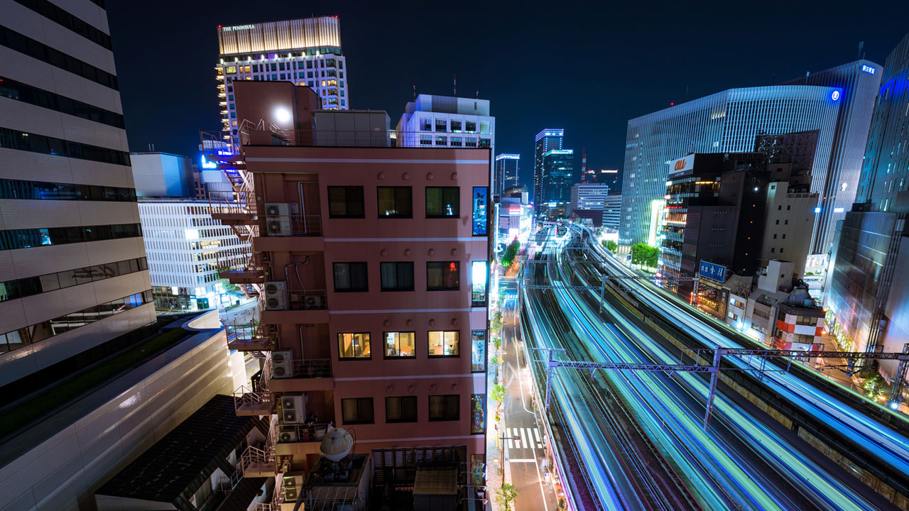 Long exposure composite  from a rooftop in Tokyo.