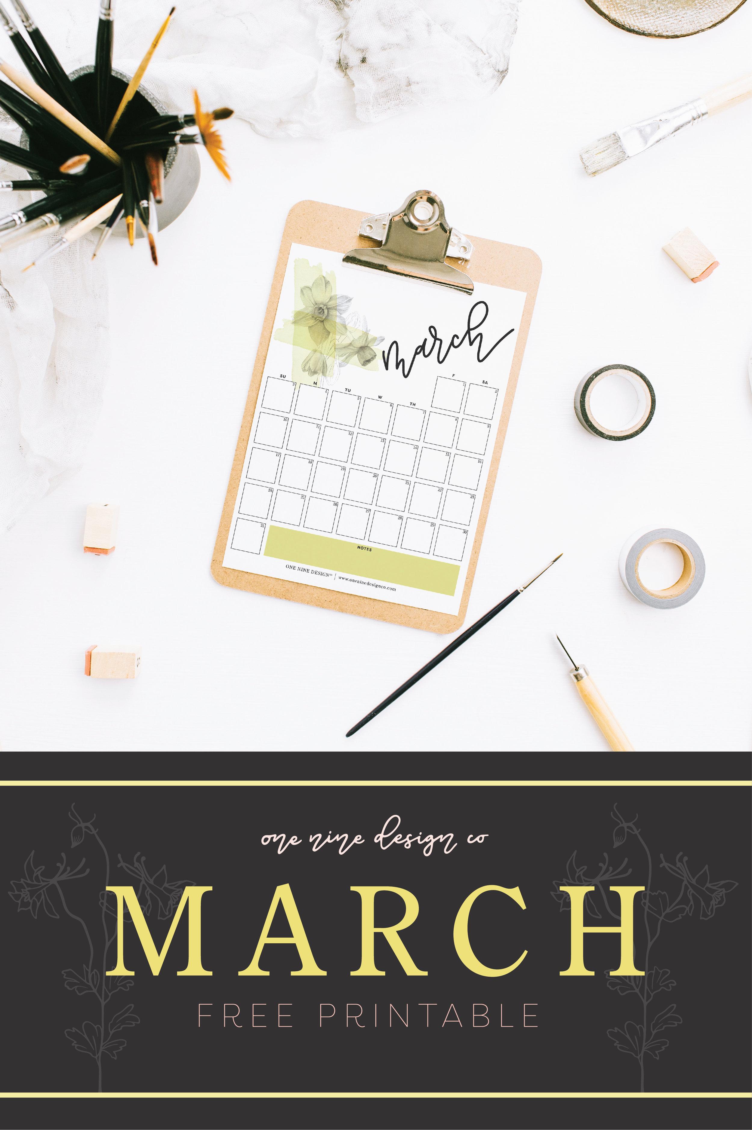 March 2019 Calendar | One Nine Design Co