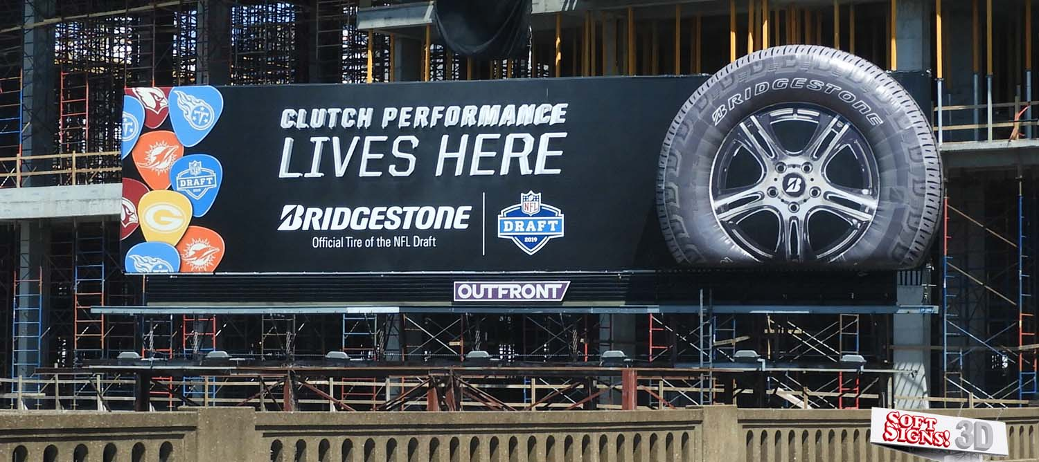 Bridgestone Tire 3D Vinyl Tire Billboard By Soft Signs 3D