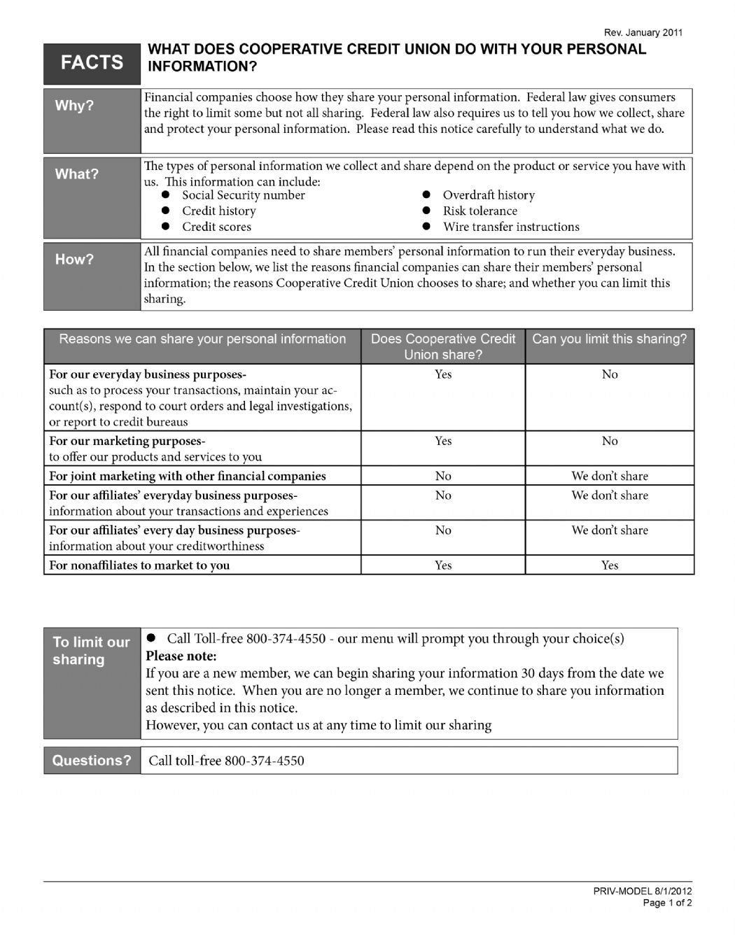 Cooperative Credit Union Privacy Page 1