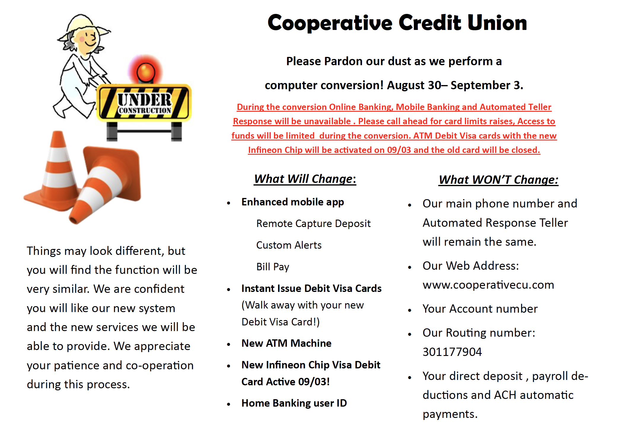 Computer Conversion for Cooperative Credit Union