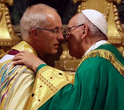 Archbishop Justin and Pope Francis at Vespers in Rome