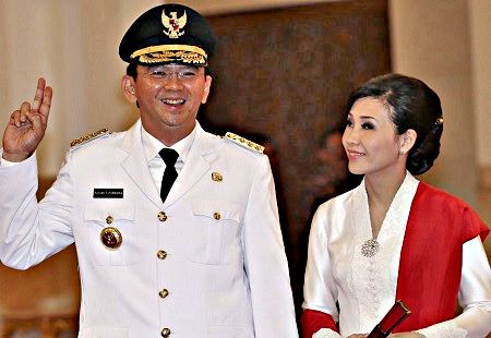 Governor Ahok and his wife Veronica Tan
