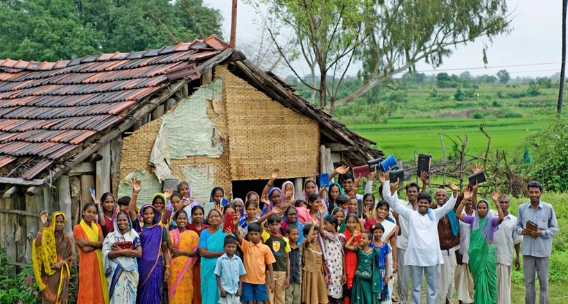 in another part of south Asia, worshippers gather outside their own 'house church'