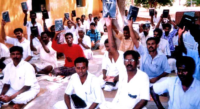 Prisoners with their new bibles
