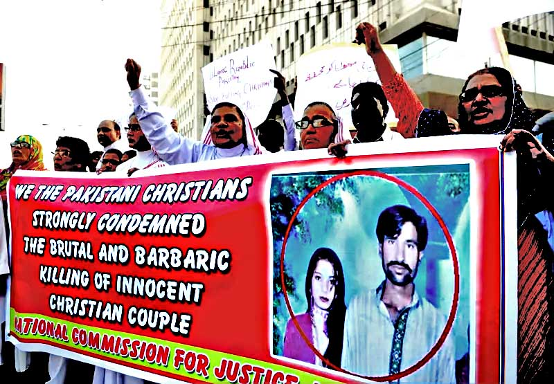 Protests in Pakistan over the killing of a young Christian couple falsely accused of blasphemy.  While Pakistan has a mandatory death sentence for those indicted for blasphemy, 12 other countries can punish with death people who leave or change their religion: Afghanistan, Iran, Malaysia, Maldives, Mauritania, Nigeria, Qatar, Saudi Arabia, Somalia, Sudan, United Arab Emirates, and Yemen.
