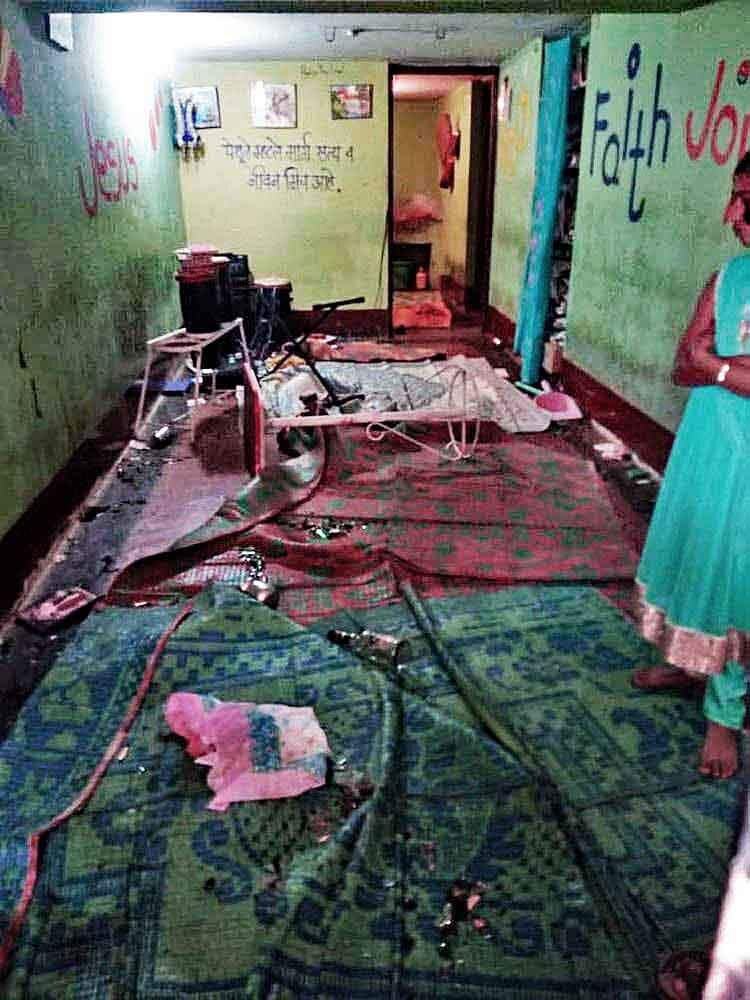 The aftermath of an attack on a house church and its congregation in Kolahpur, Maharashtra