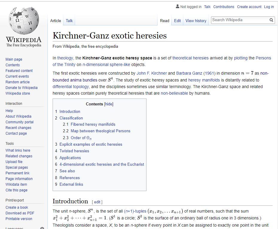 Kirchner-Ganz exotic heresies.